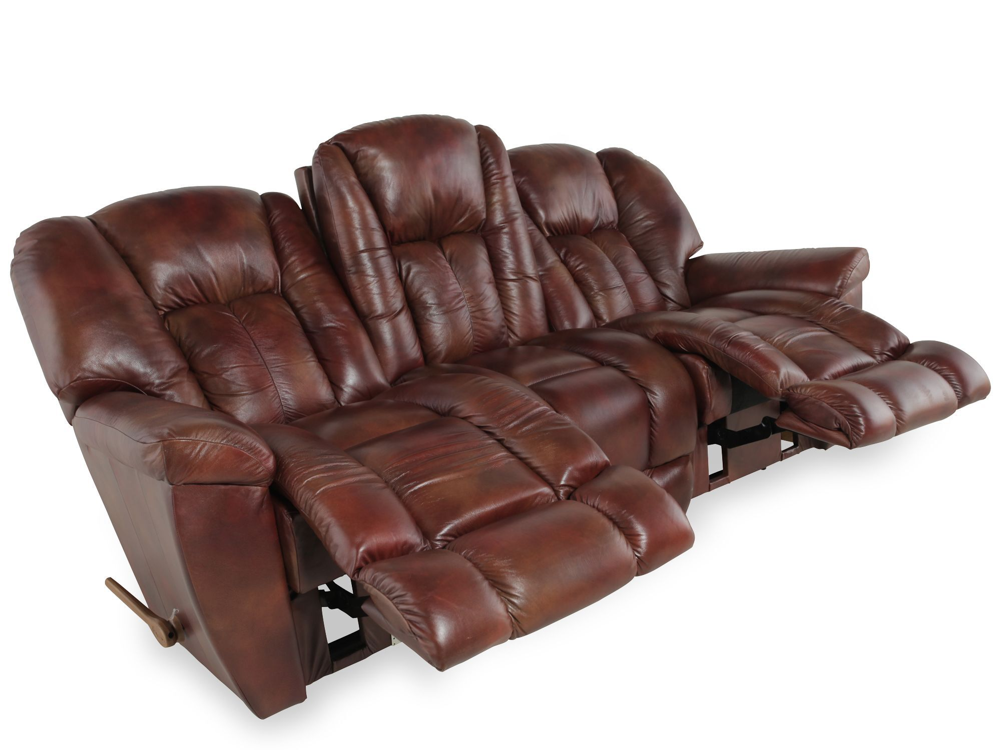 lazy boy maverick recliner sofa sectional leather brown la z mahogany