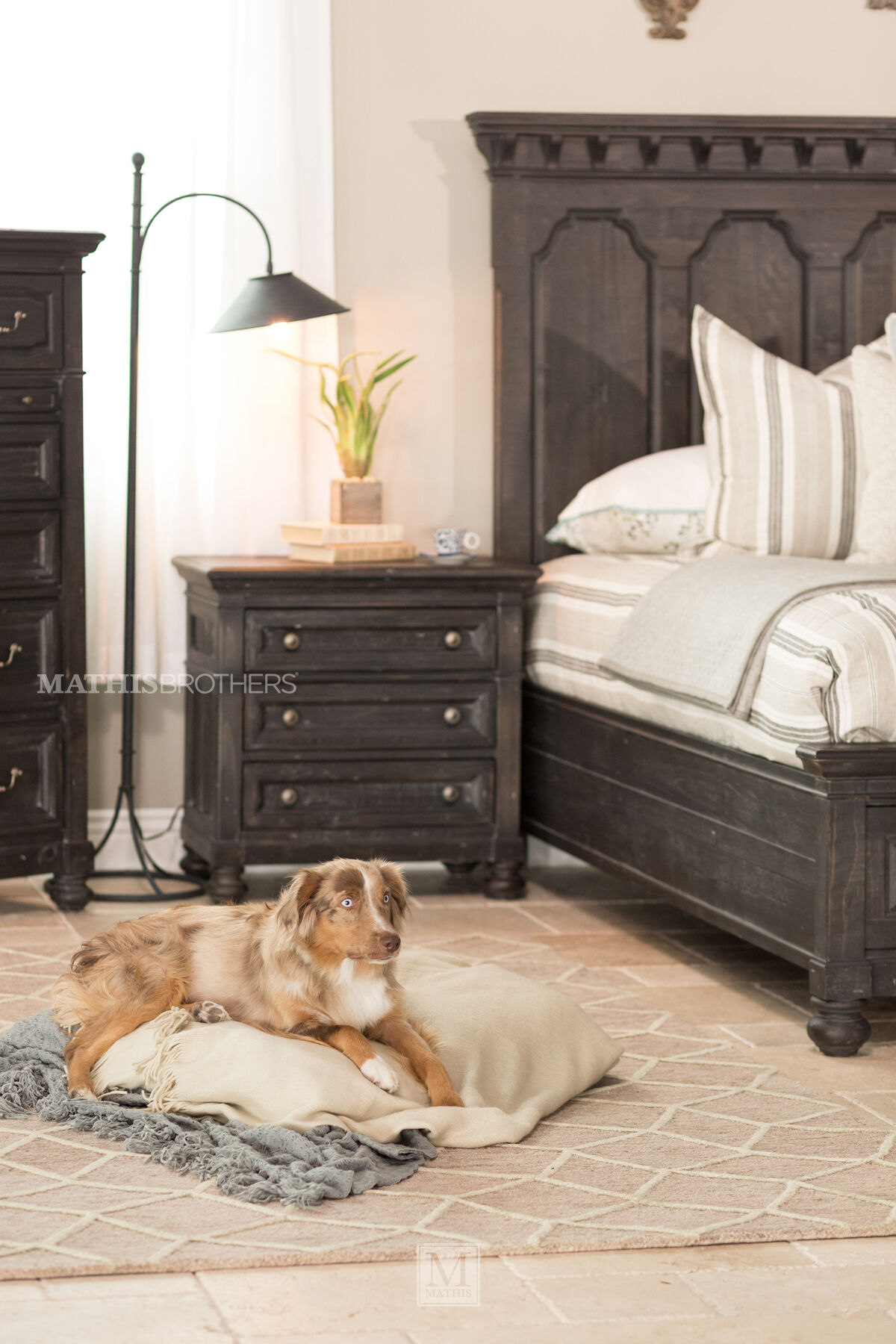 Four-Piece Distressed Bedroom Set in Black | Mathis ...