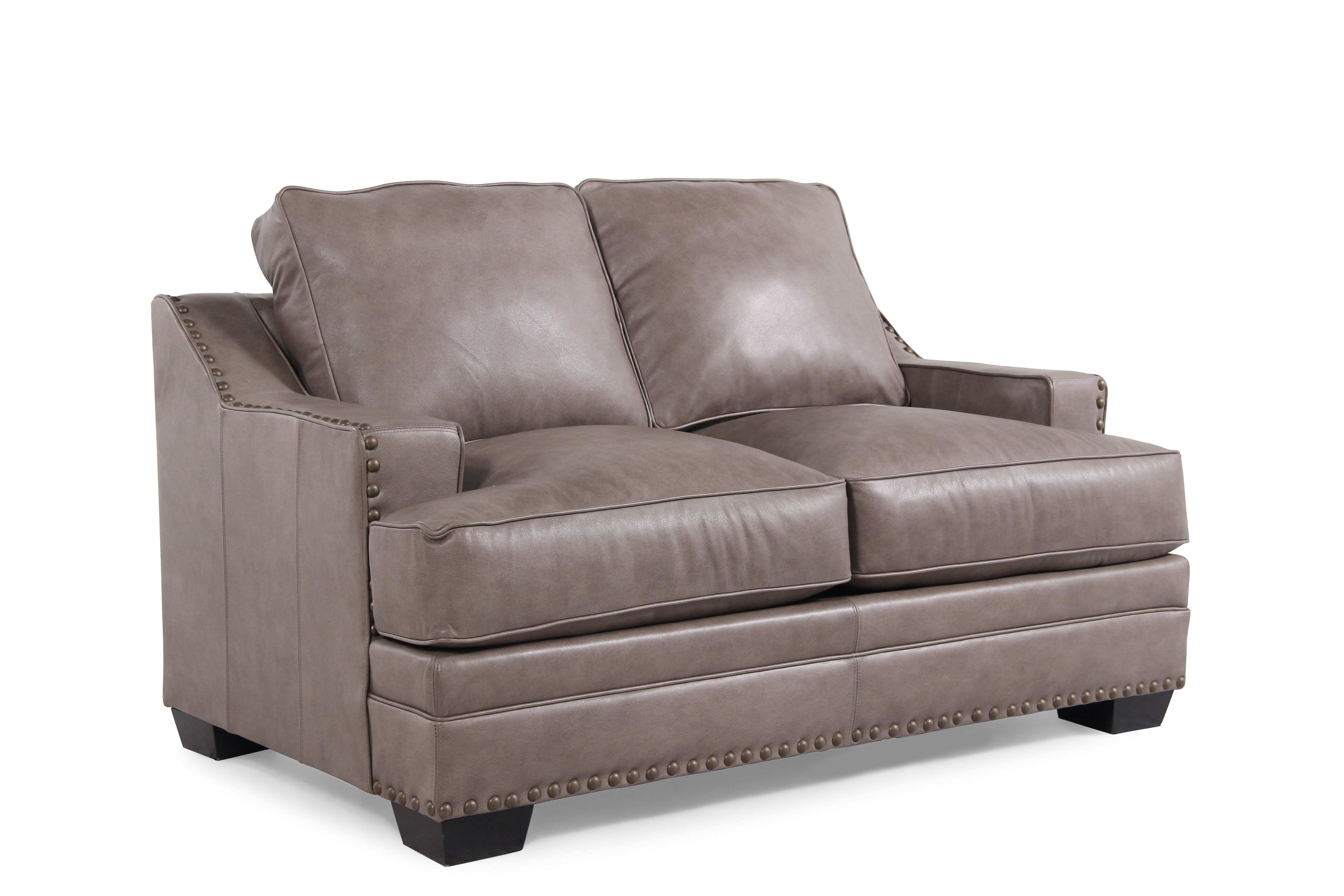 low profile leather sectional sofa drawing 61 quot loveseat in chestnut brown