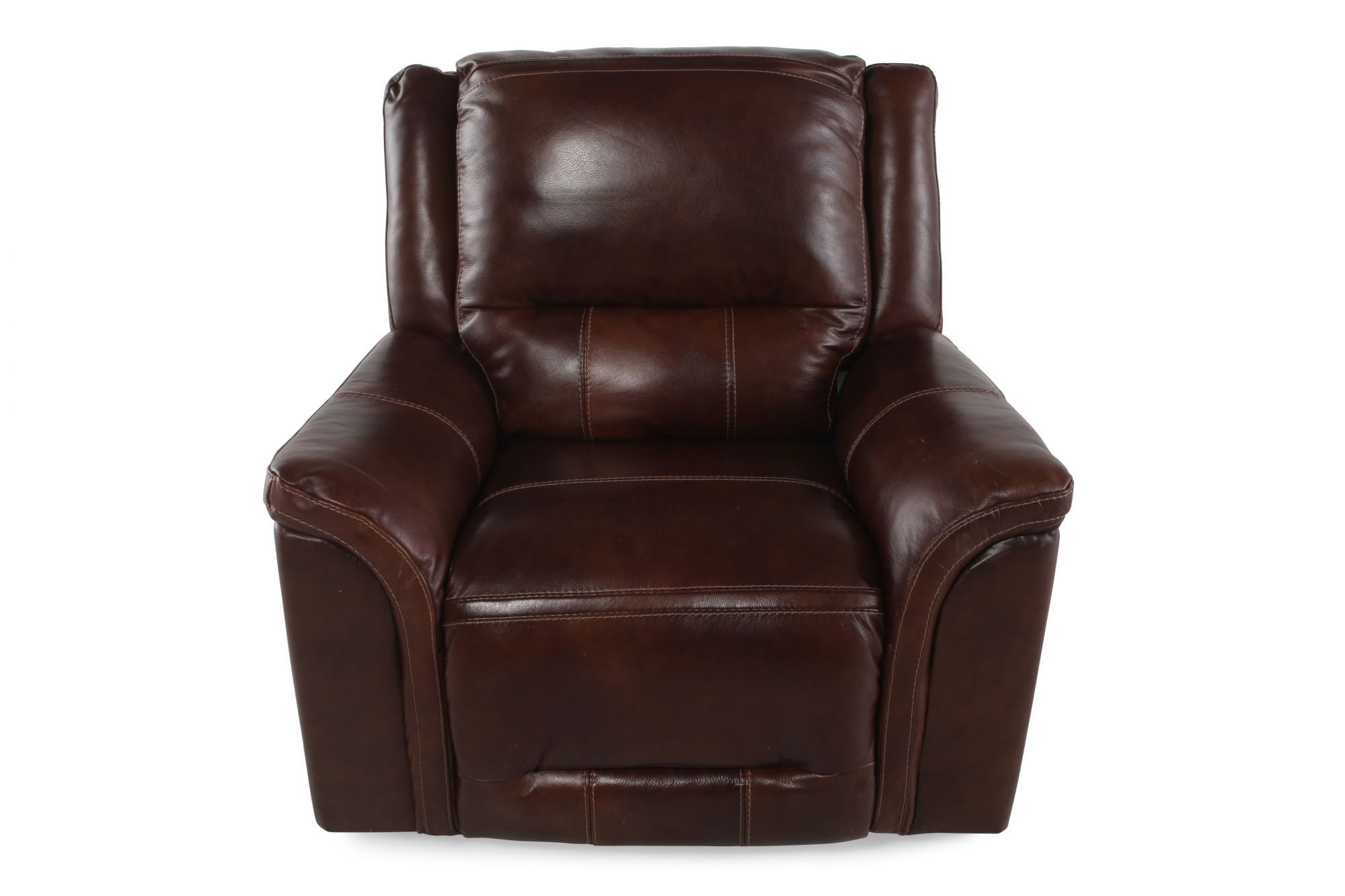 Leather 42 Power Recliner in Dark Saddle Brown  Mathis