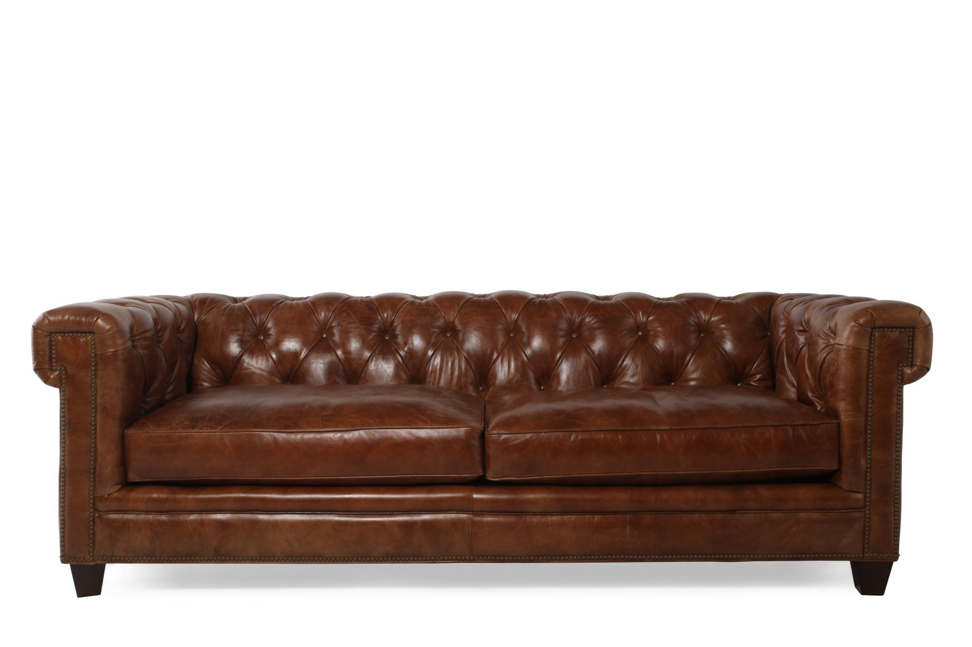 "Button-tufted Leather 90"" Sofa In Saddle Brown Mathis"