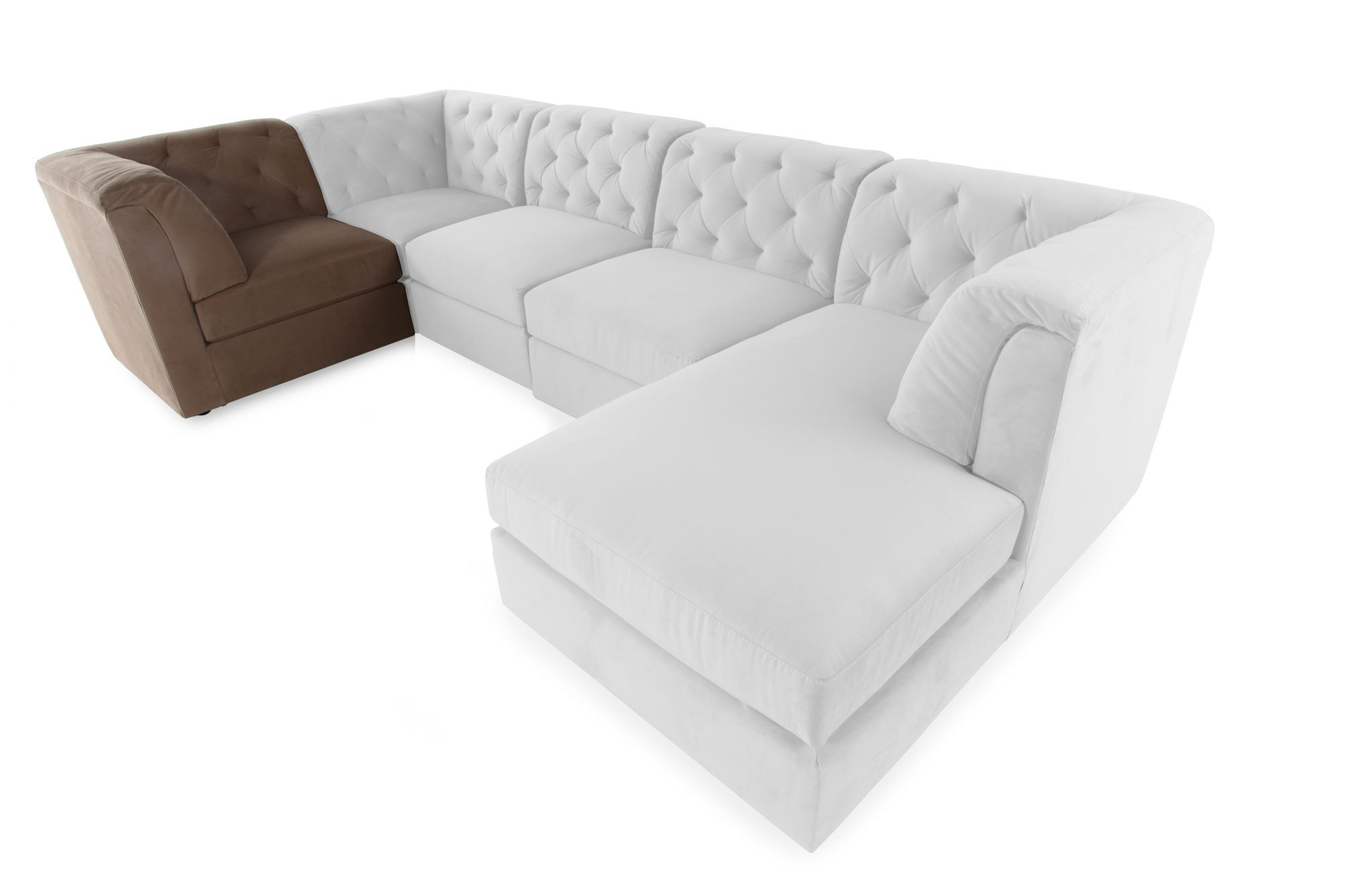 sectional sofa corner wedge height of end table contemporary 37 quot tufted in cocoa mathis