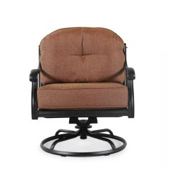 Swivel Club Chair Recliner Revolving Sale Button Tufted Aluminum Patio In Brown