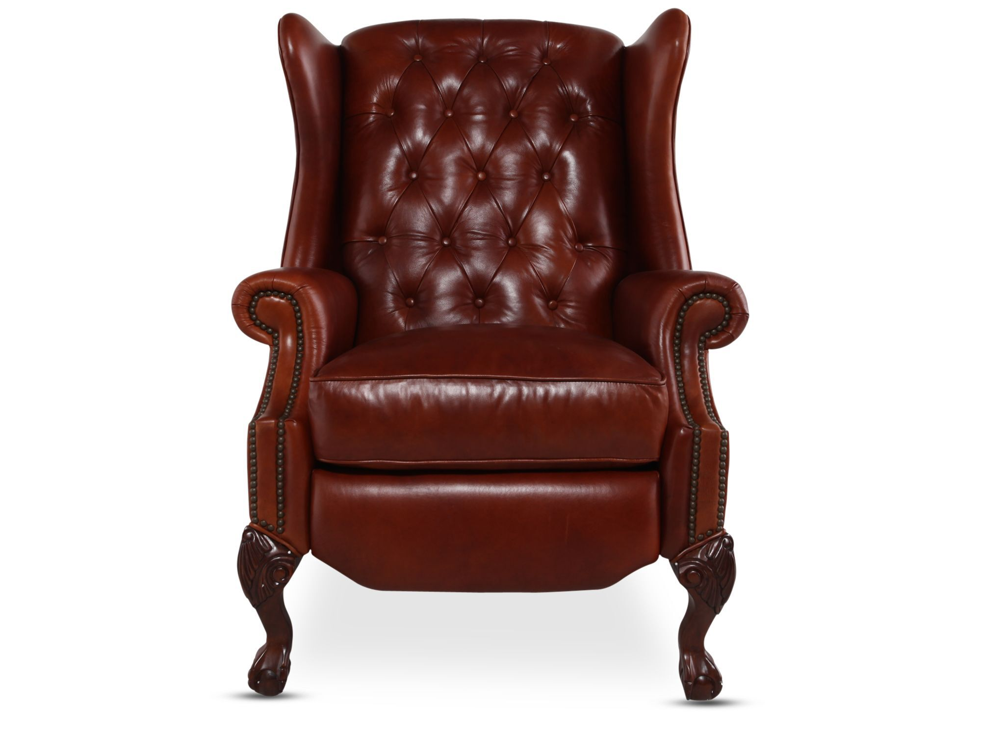 button tufted leather recliner in red