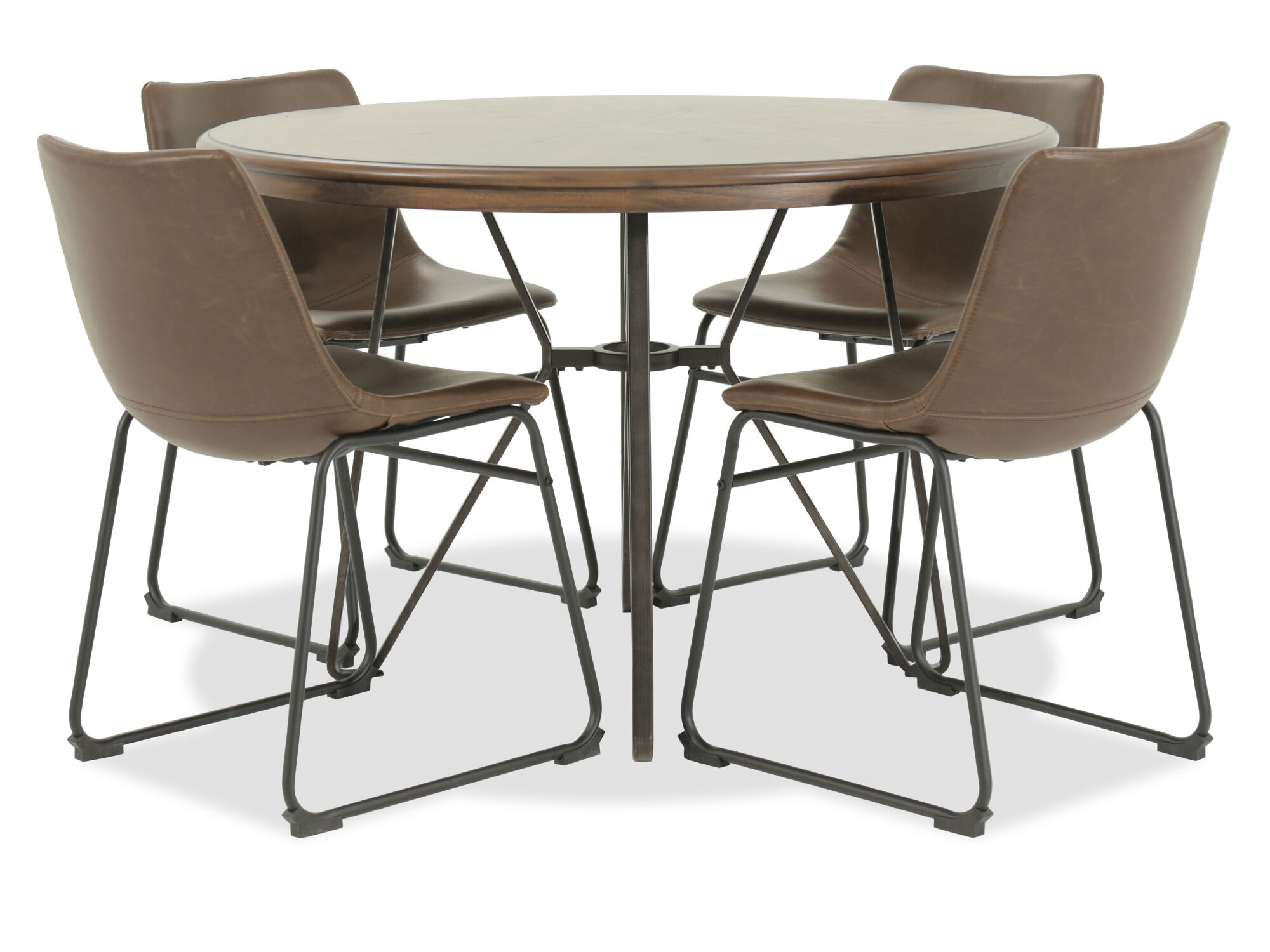 Five Piece Mid Century Modern 45 Round Dining Set In Brown Mathis Brothers Furniture