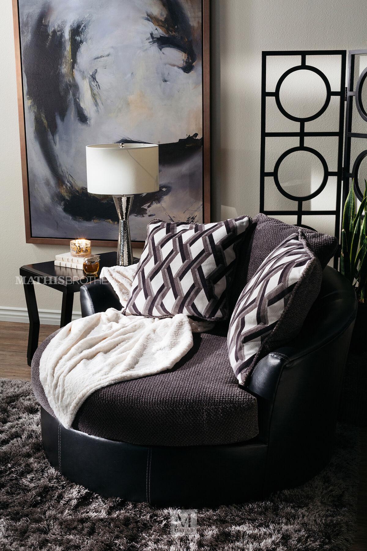Oversized Microfiber 58 Swivel Accent Chair In Smoke Gray