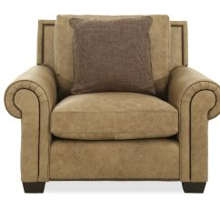 Bernhardt Brown Leather Club Chair Big With Ottoman Nailhead Accented 47 In Mathis Brothers Furniture