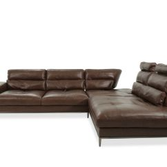 2 Piece Brown Leather Sofa Tall Side Table Two Sectional In Mathis Brothers
