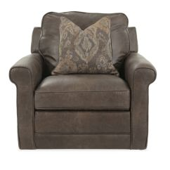 Swivel Chair Brown Leather Camp Self Centering 40 Quot In Mathis