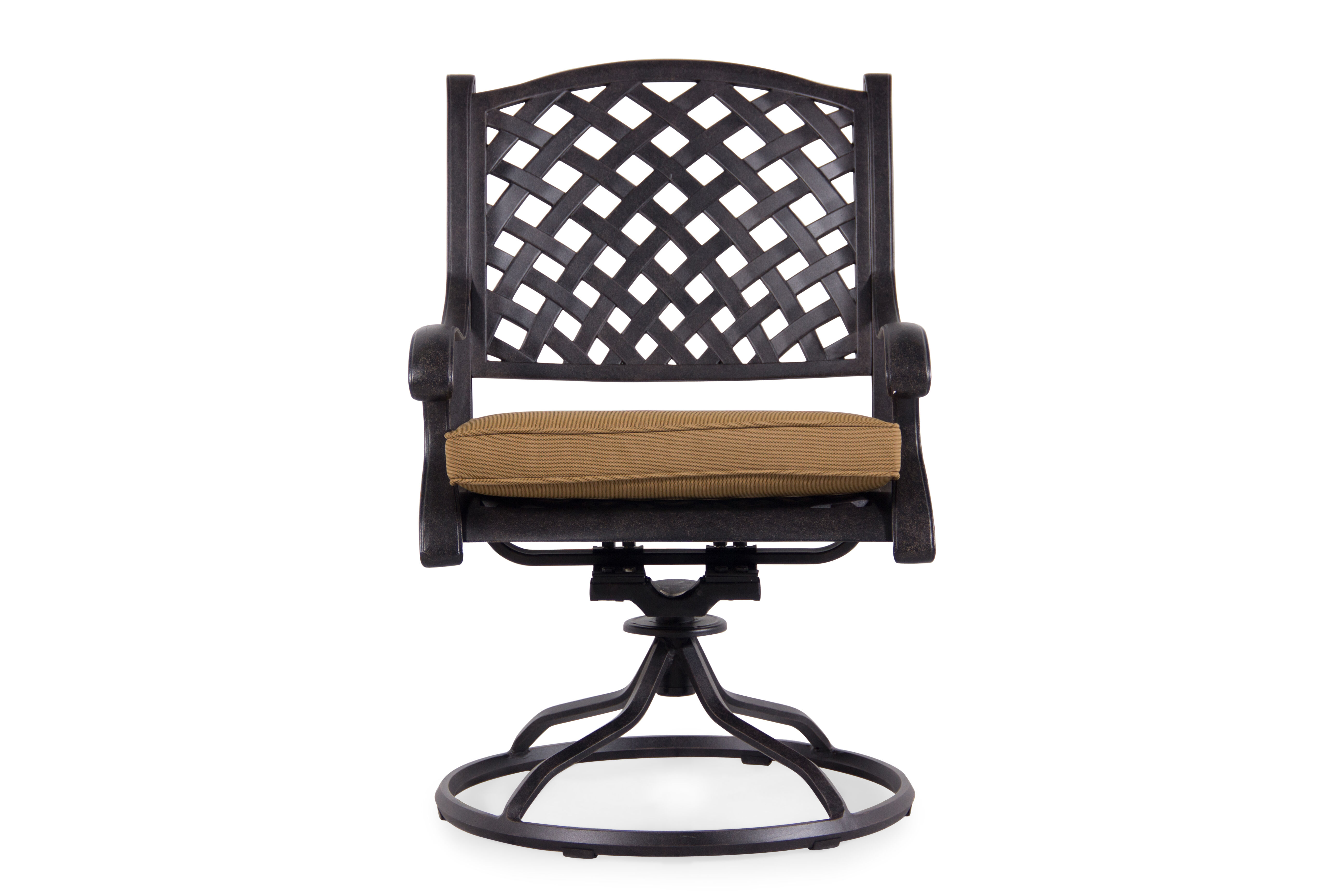 swivel rocker outdoor dining chairs fancy room lattice-back chair in cinnamon | mathis brothers furniture