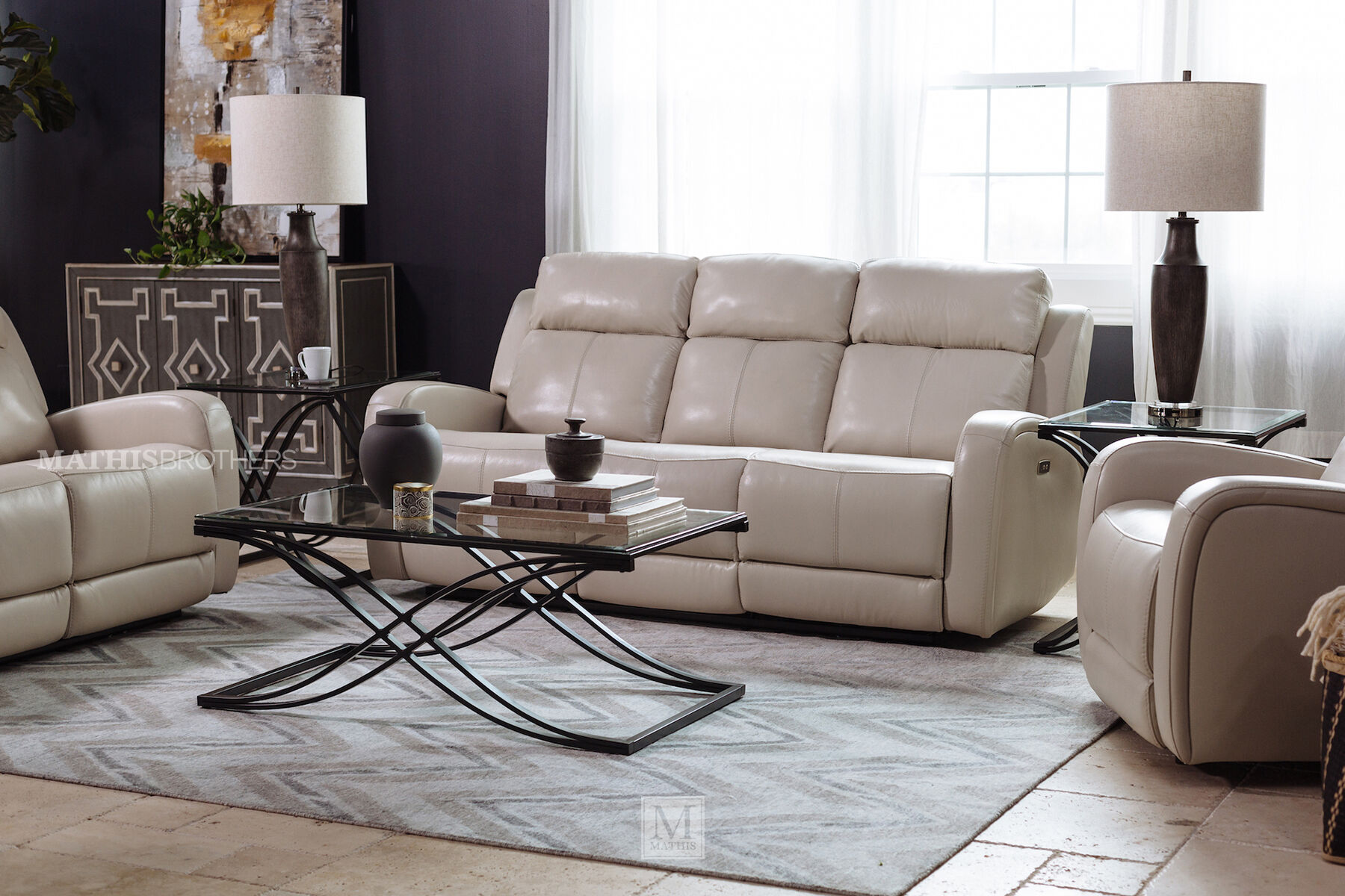 futura leather and vinyl power reclining sofa with headrest in stone folding bed uk sofas couches mathis brothers furniture stores 81 quot