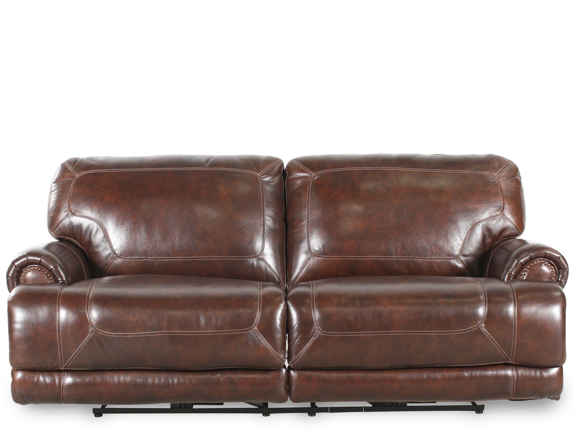 reclining sofa leather brown corner unit sofas uk 86 quot in mathis brothers