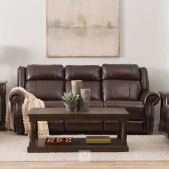 Photos Of Living Rooms With Brown Leather Furniture Room Paint Ideas Stores Mathis Brothers Nailhead Accented 89 Quot Power Reclining Sofa