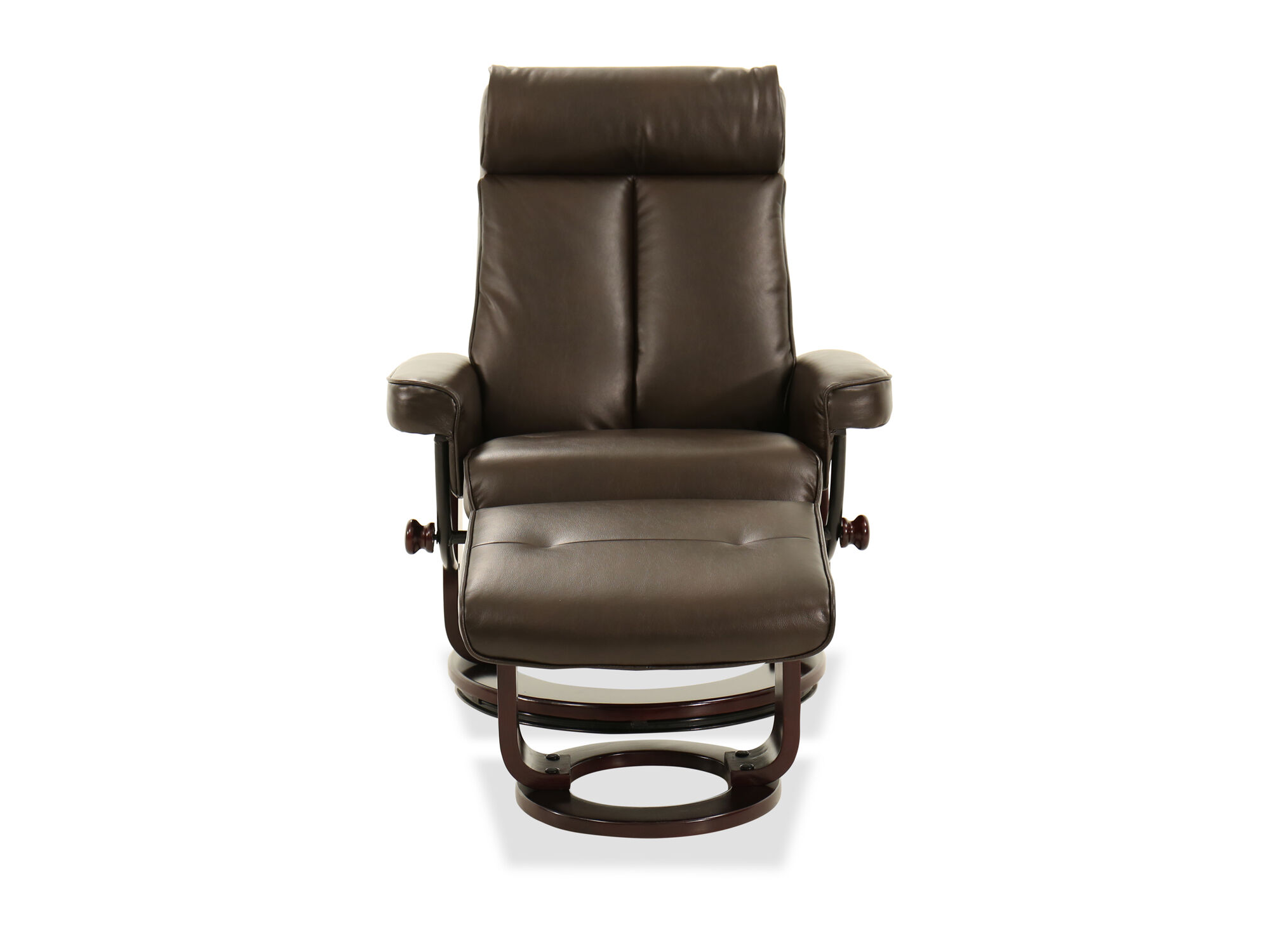 reclining chair with ottoman leather makeup recliner and in brown mathis brothers furniture