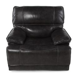 Modern Black Leather Recliner Chair Wing Contemporary 44 Quot Power In Mathis