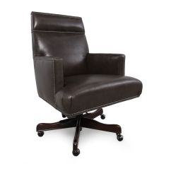 Grey Leather Desk Chair Navy Blue Accent Chairs Nailhead Accented Executive In Charcoal