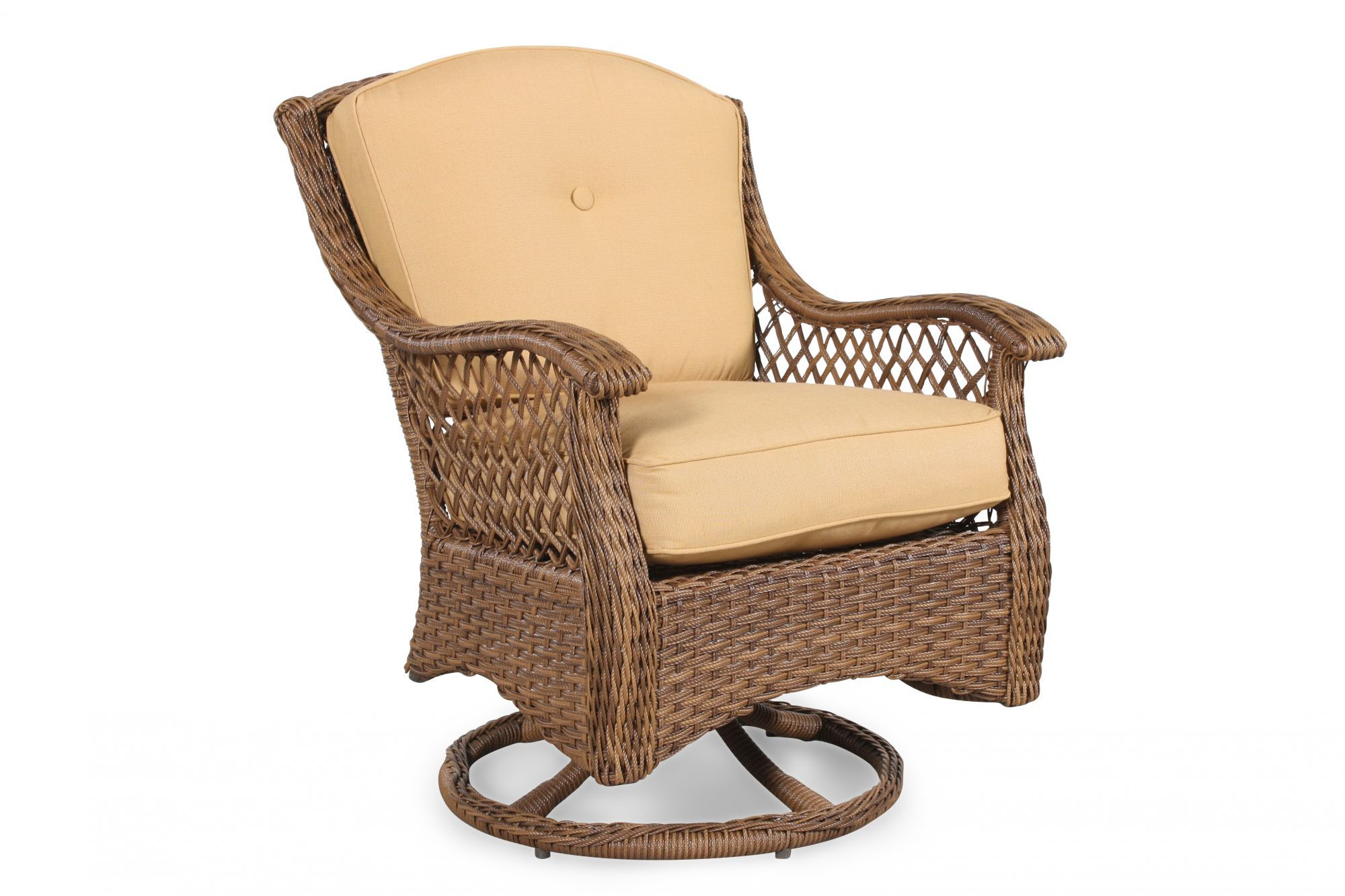 patio swivel rocker chairs country kitchen chair cushions curved arm casual in brown mathis