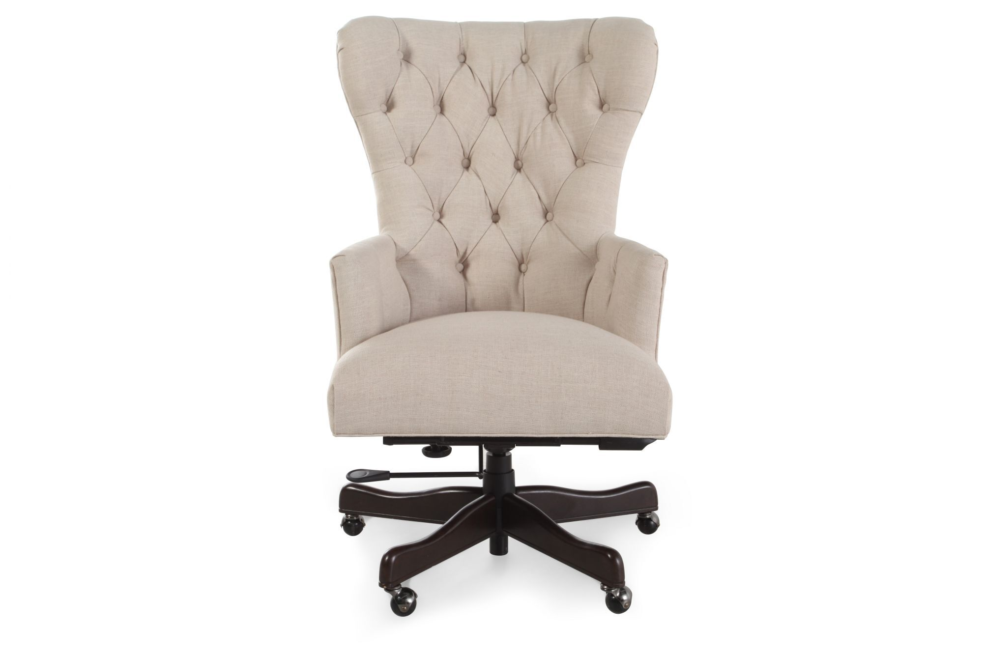 hight resolution of button tufted swivel desk chair in natchez brown mathis brothers furniture