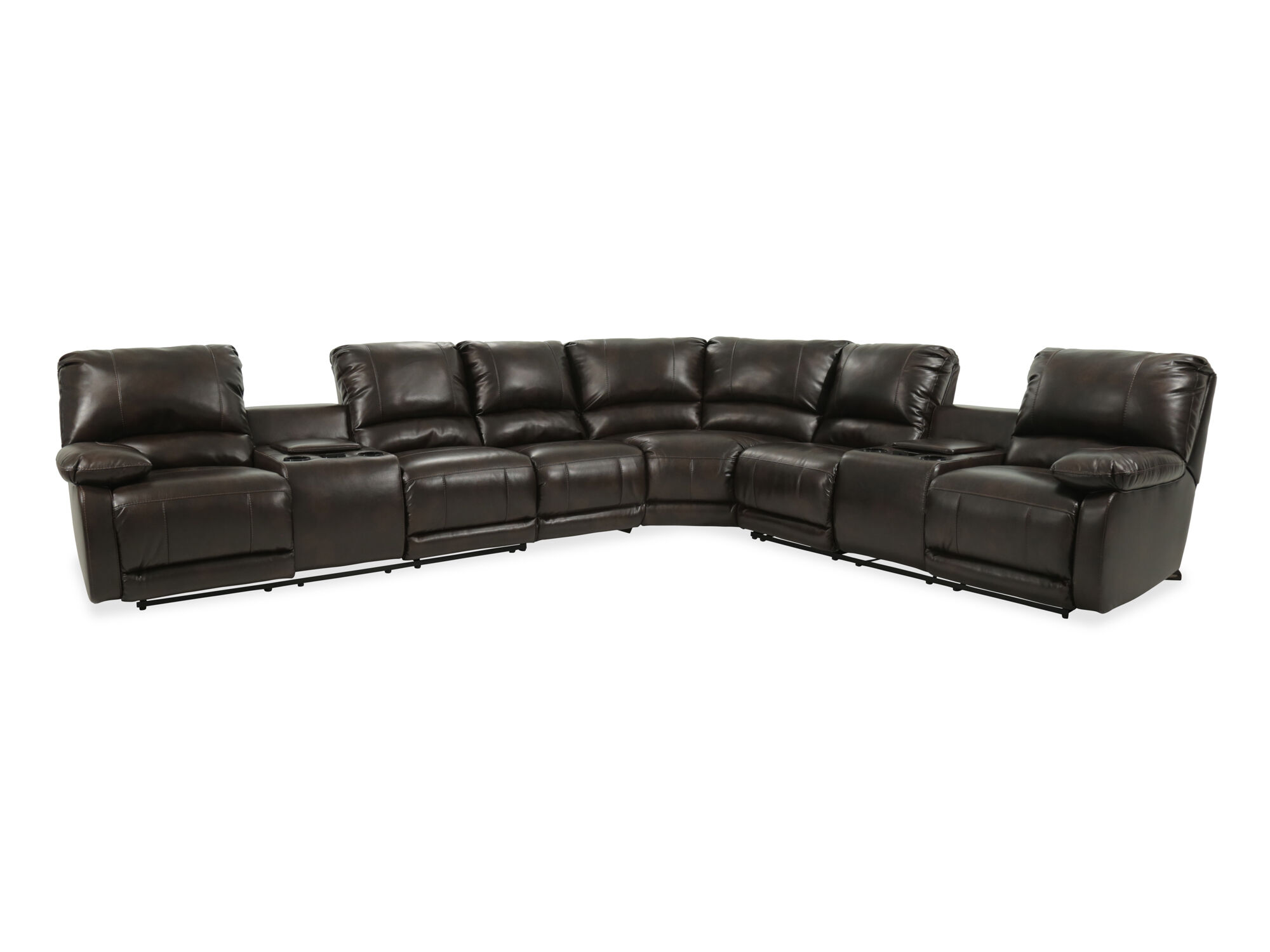 4 piece recliner sectional sofa stone forge table four microfiber in brown mathis brothers
