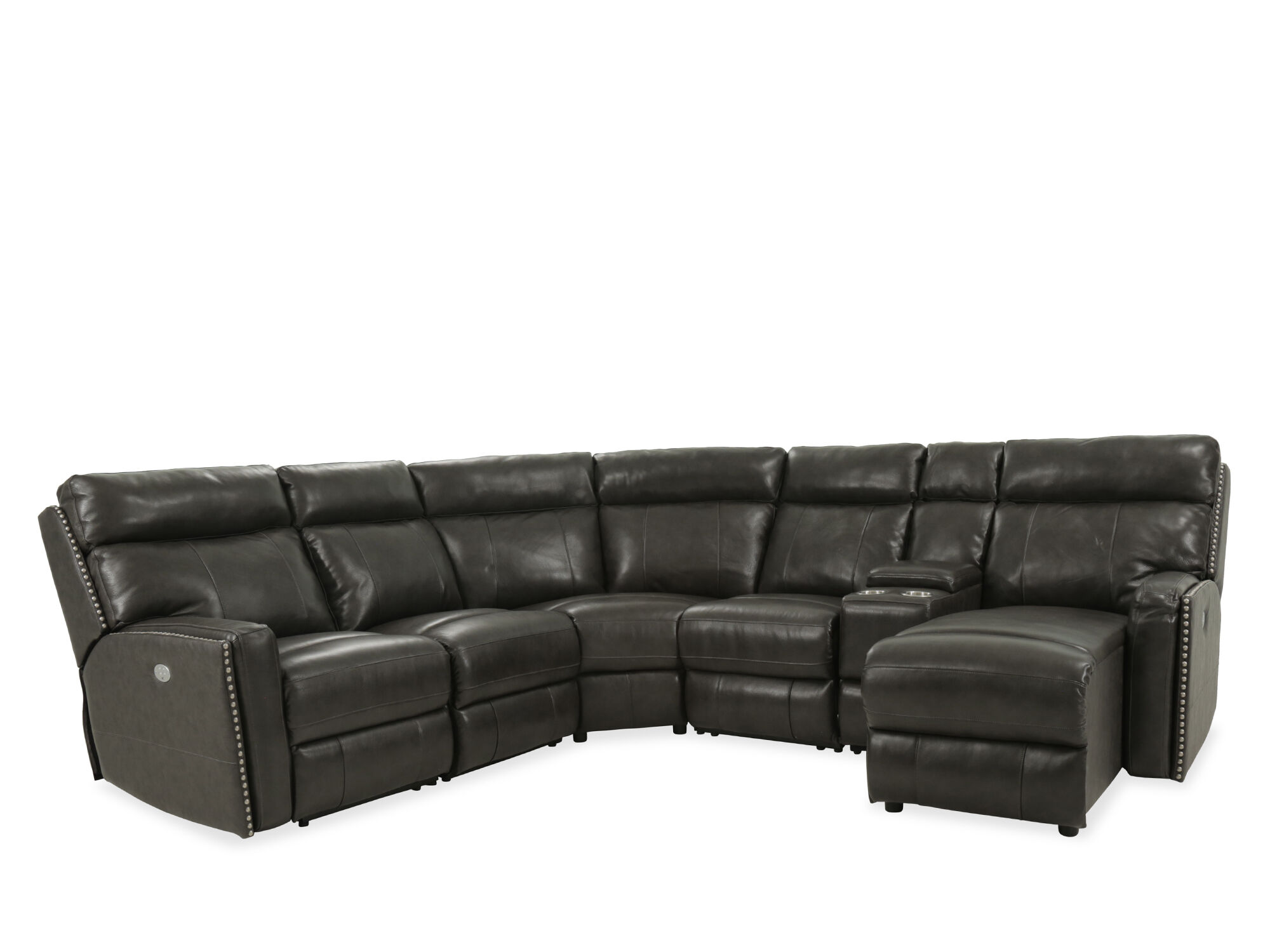 caruso leather 5 piece power motion sectional sofa max home reviews six reclining in black