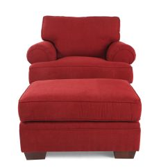 Red Chair And Ottoman Lumbar Support Chairs Traditional In Mathis Brothers