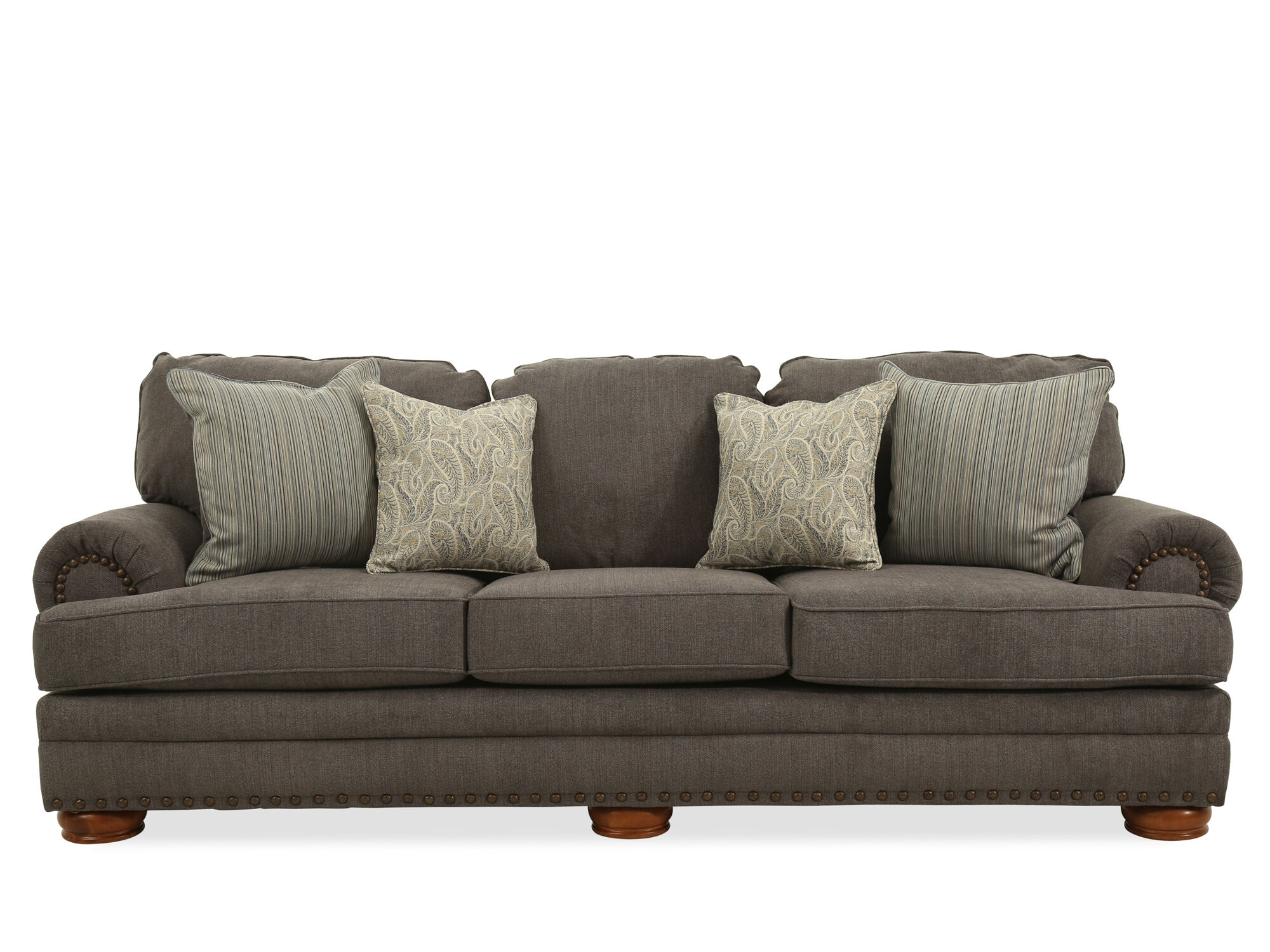 grey carleton nailhead sofa 90 inch long table contemporary accented 101 quot in gray mathis