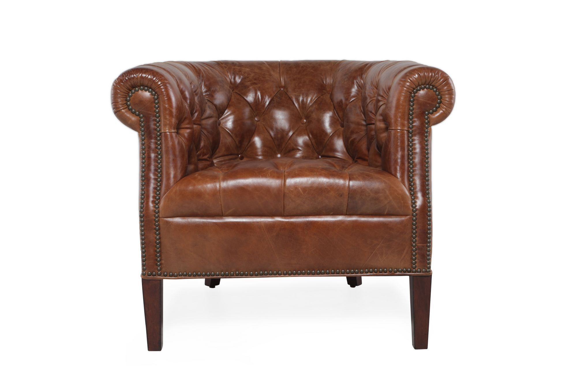 leather tub chair rubber wood table and chairs button tufted in chestnut brown mathis brothers furniture