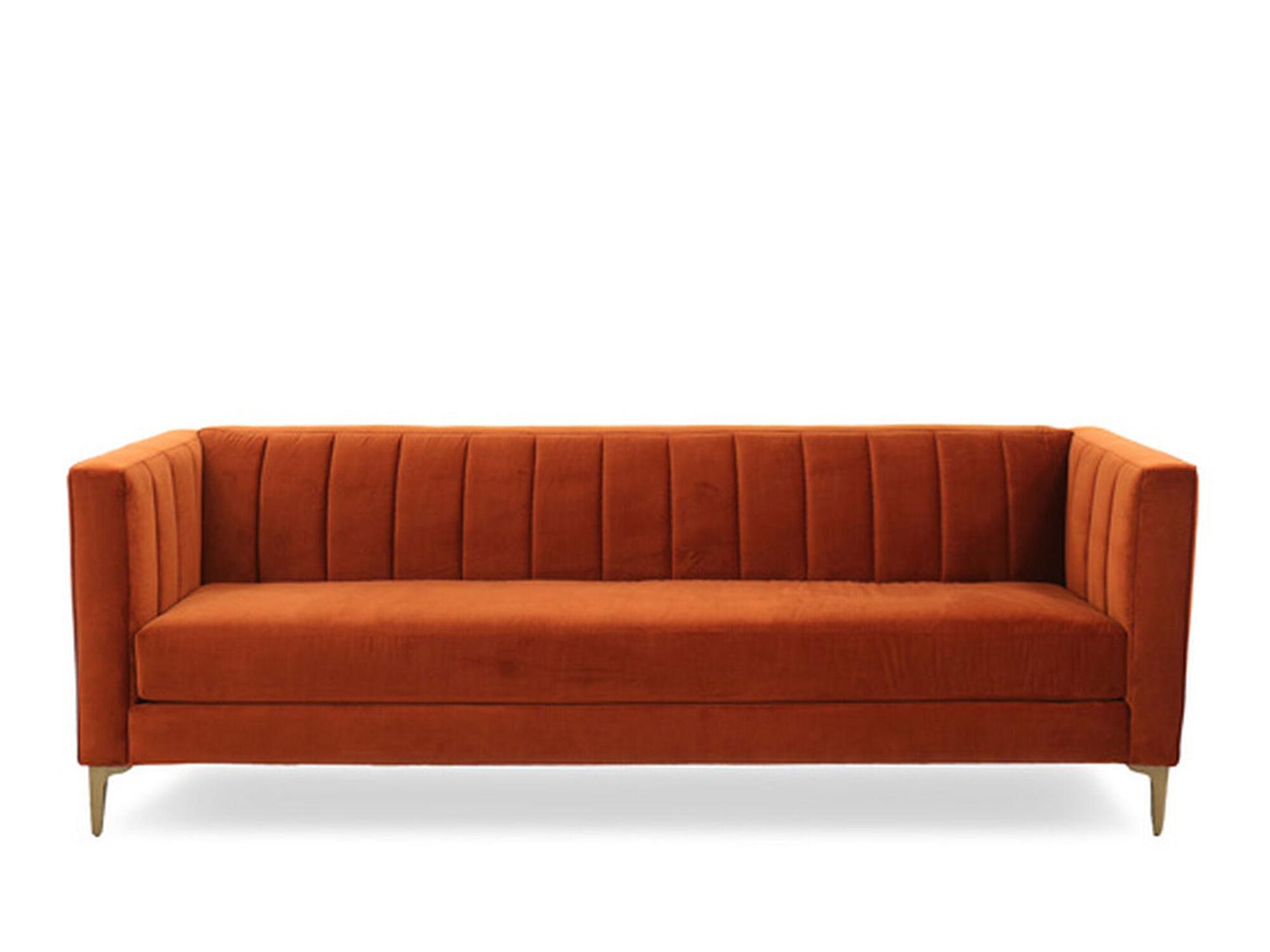 sofas tulsa ok tuscan sofa bed channel tufted velvet in orange crush   mathis ...
