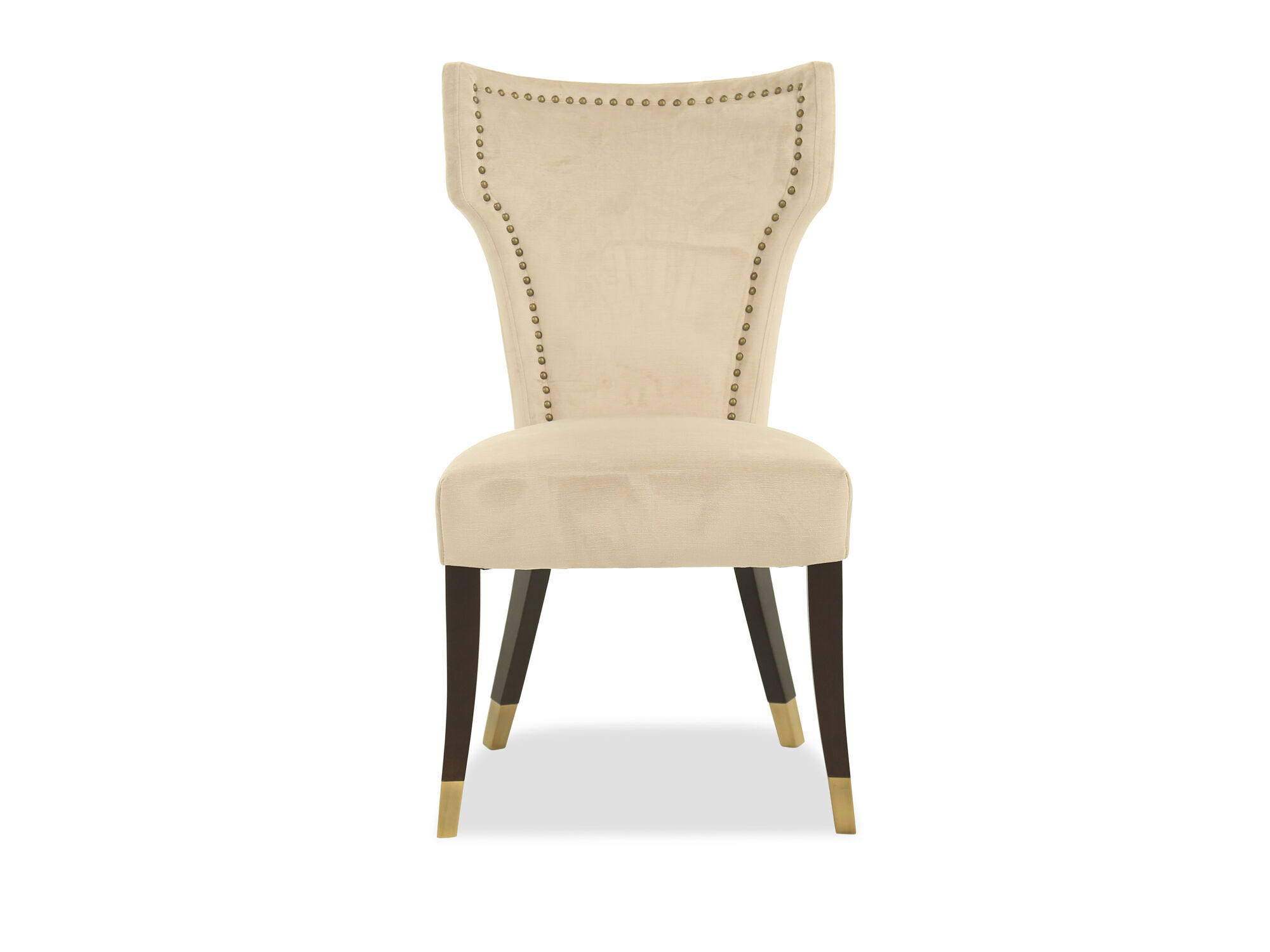 nailhead upholstered dining chair lower back support for office accented 21 quot in beige