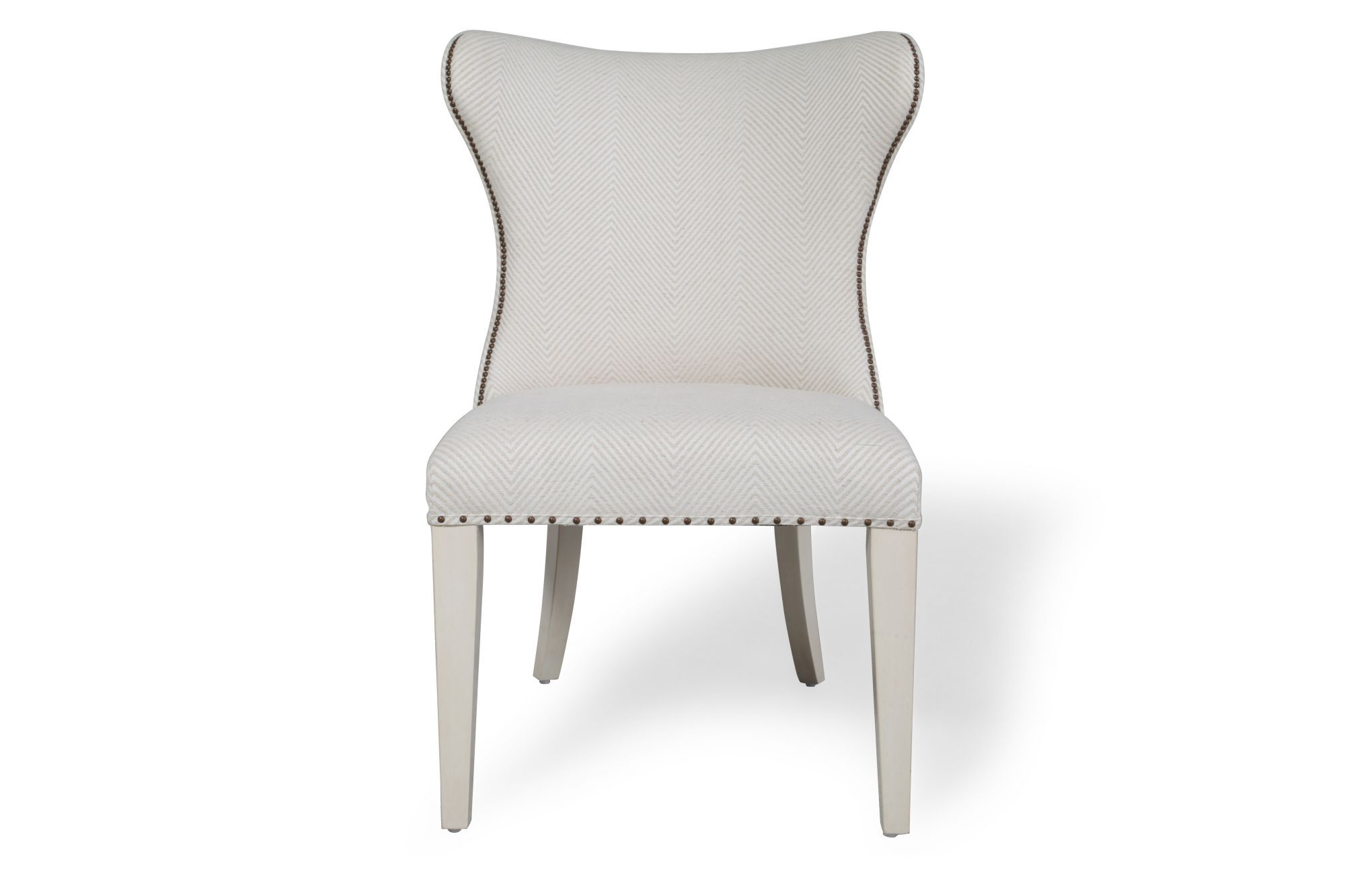 nailhead wingback chair outdoor swing with canopy trimmed wing in white mathis brothers