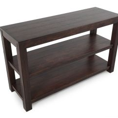 Dark Sofa Tables Thomasville Ashby Two Open Shelf Casual Console Table In Walnut