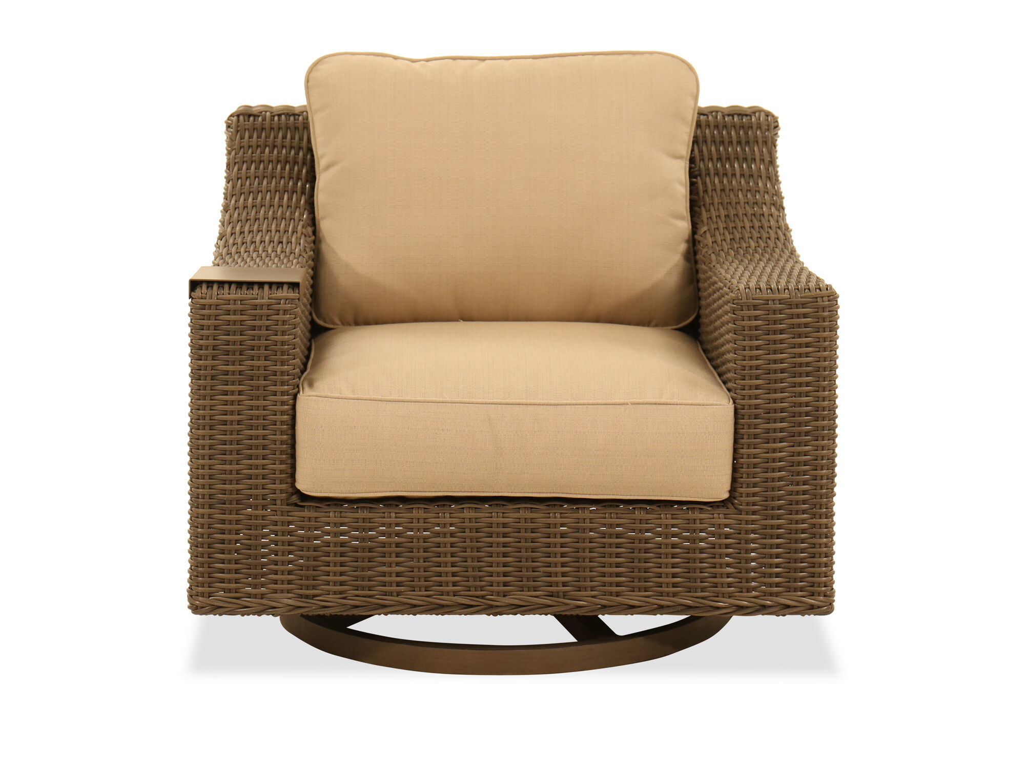 Swivel Glider Club Chair In Aged Teak Mathis Brothers