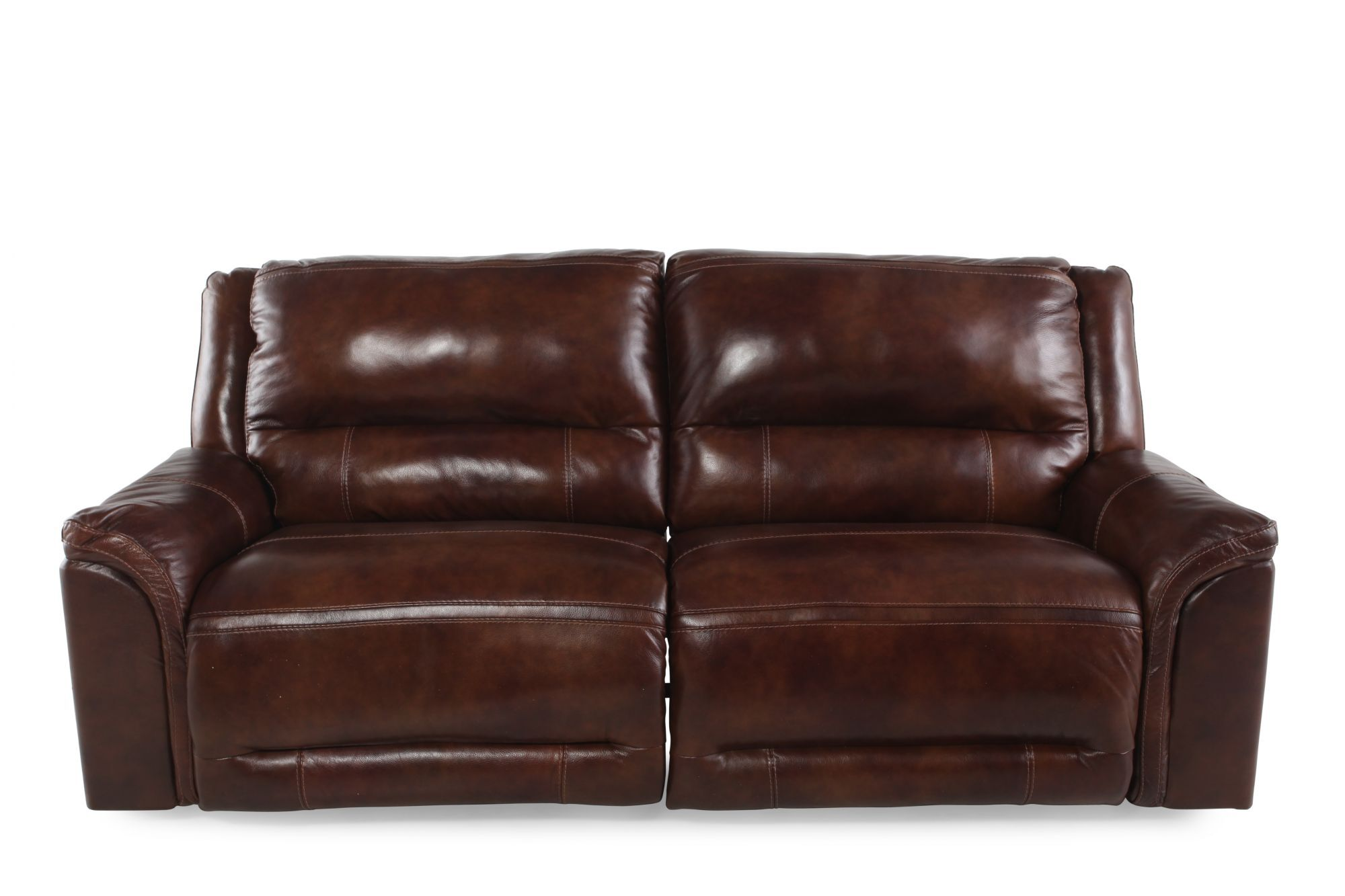 reclining sofa leather brown jennifer convertibles power in saddle mathis