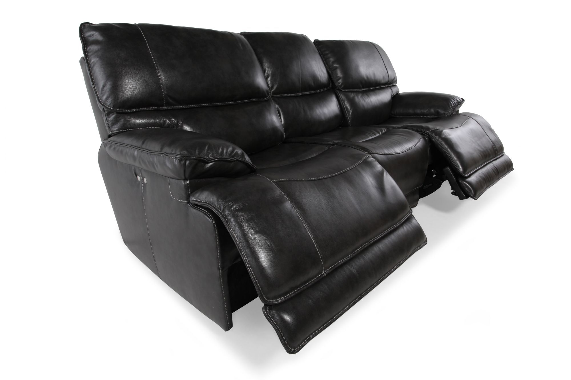 Leather 90 Power Reclining Sofa In Charcoal Mathis