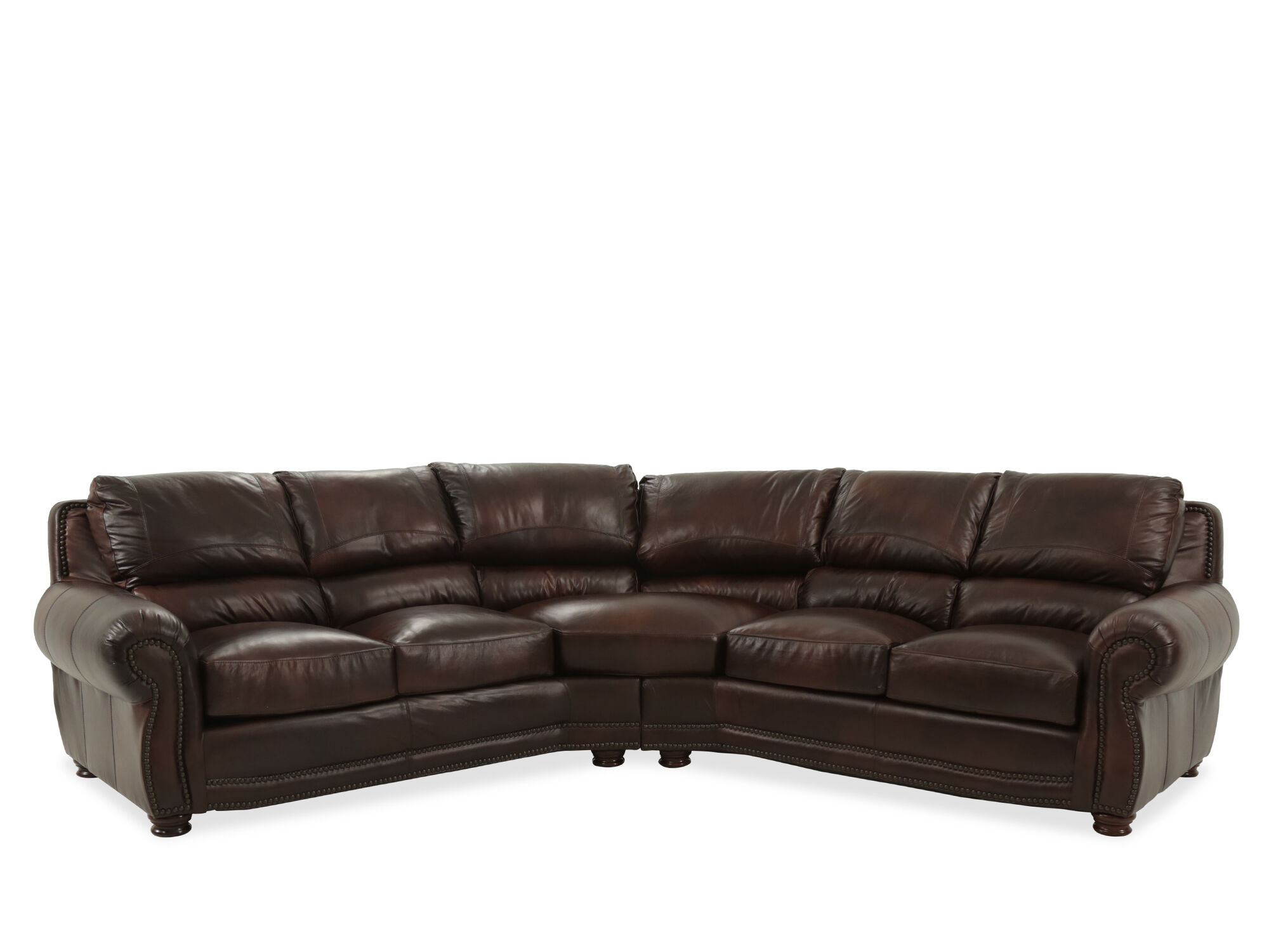 2 piece brown leather sofa manhattan urban barn two nailhead accented 115 quot sectional in