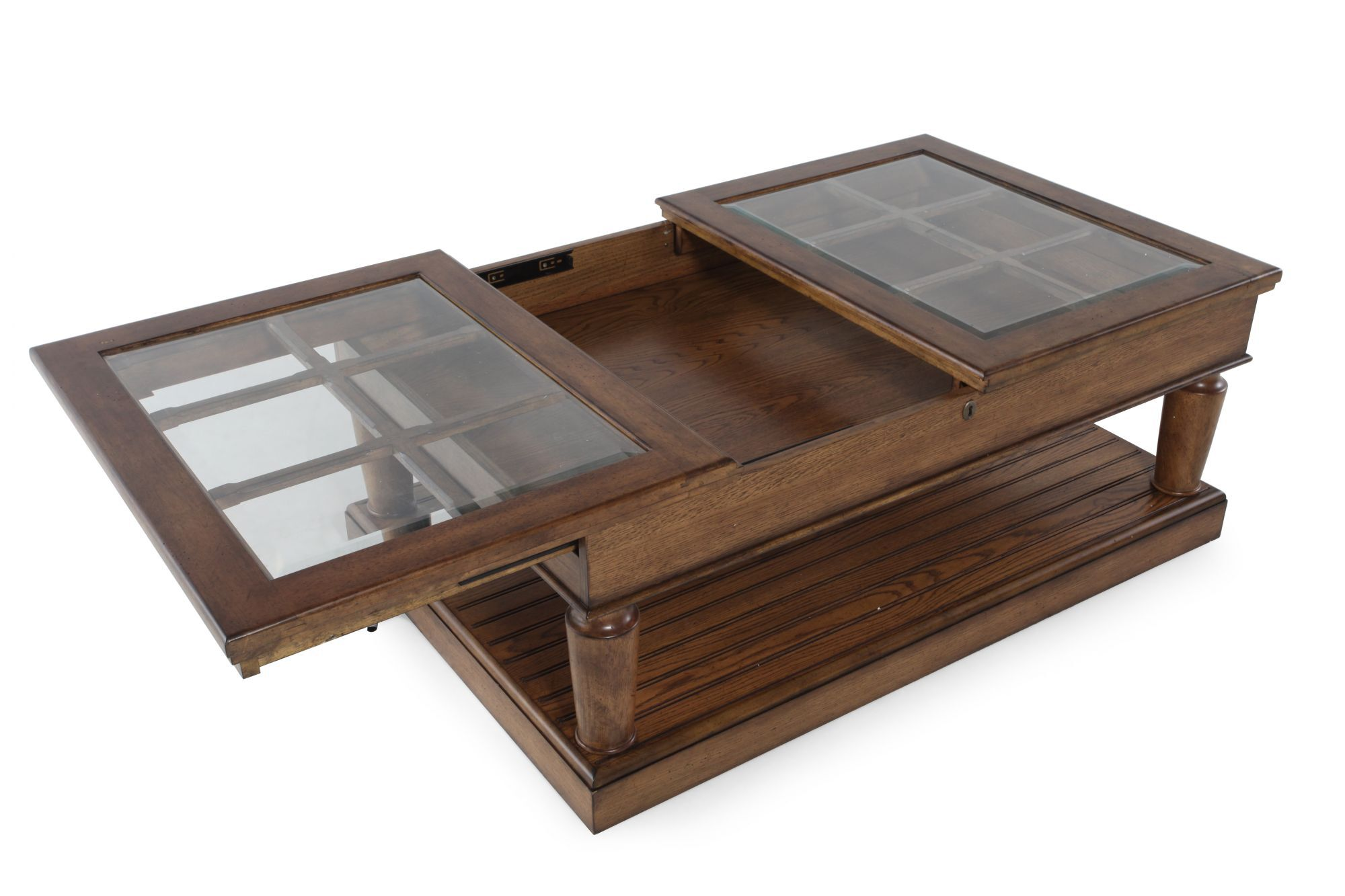 Window Pane Top Contemporary Coffee Table in Brown