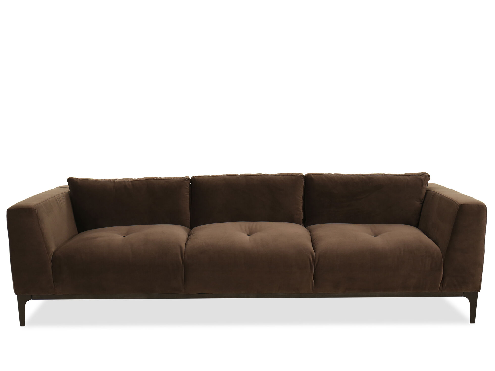 button tufted sofas room and board metro sofa with chaise in brown mathis brothers furniture