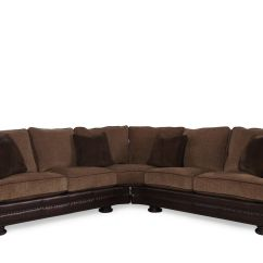 2 Piece Brown Leather Sofa Full Sleeper Two 204 Quot Nailhead Trimmed Sectional In