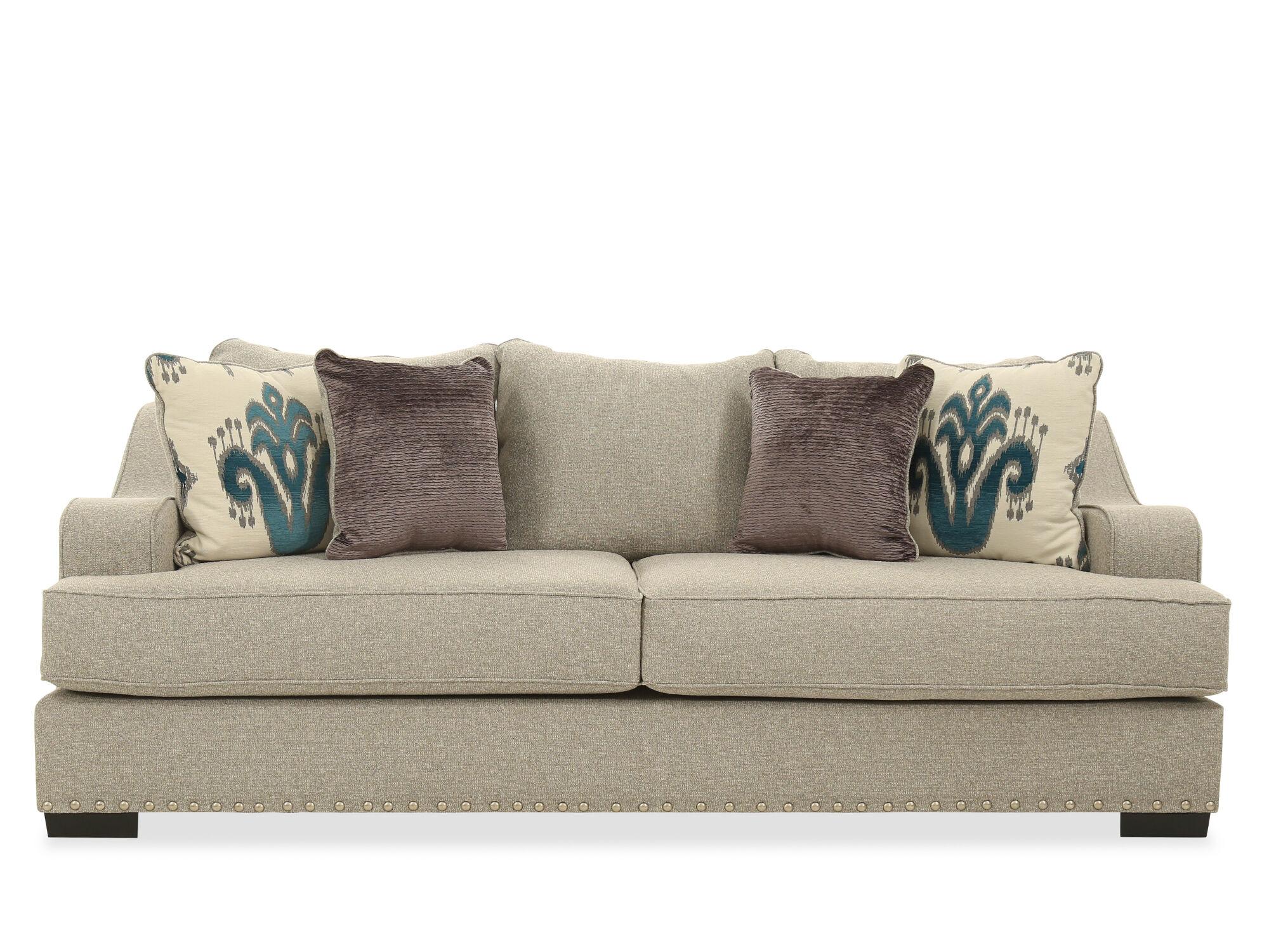 michael nicholas aspen sofa stanley showroom in bangalore low profile nailhead accented 96 quot beige mathis