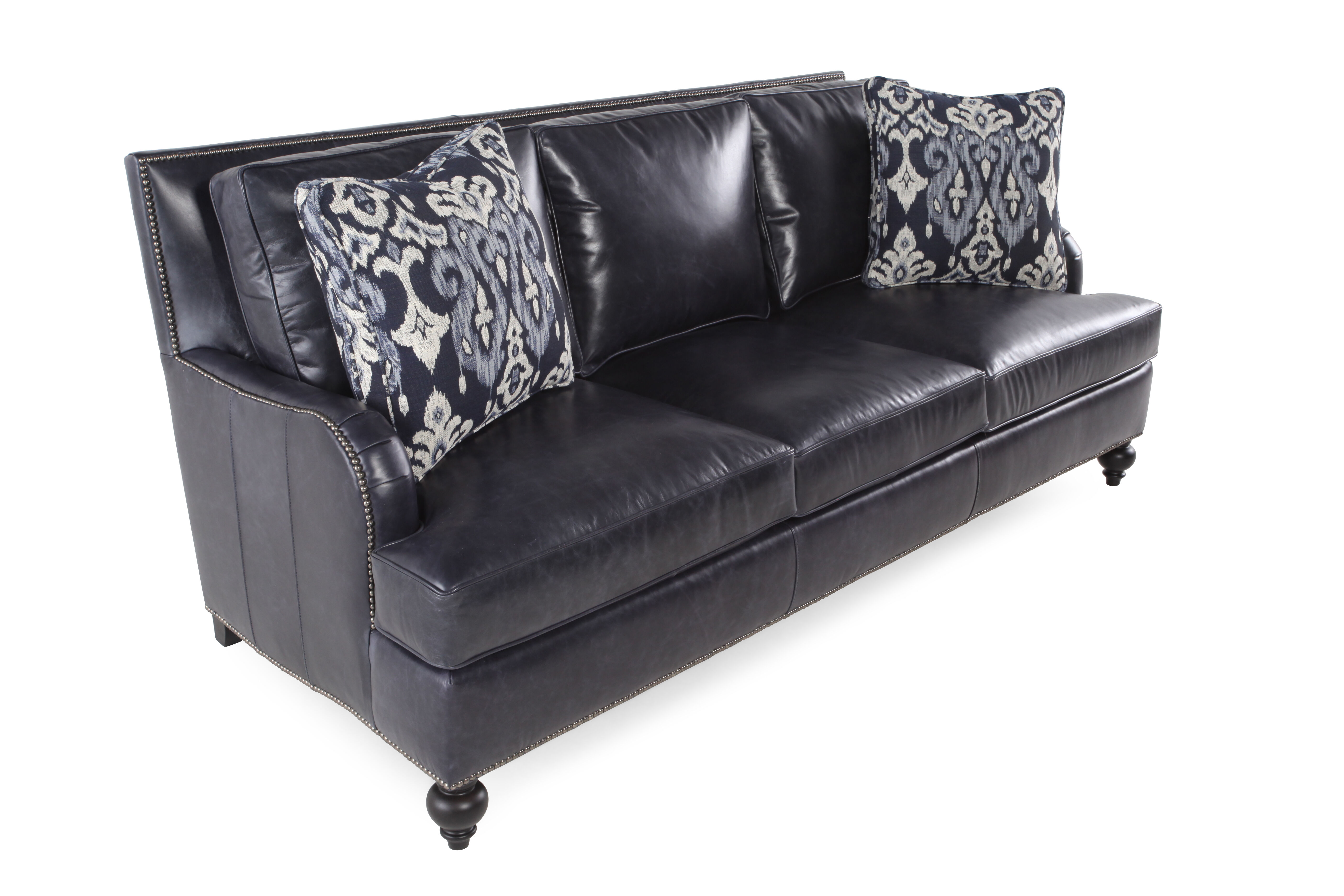 black leather sofa with nailheads bed springs nailhead accented 86 quot in mathis