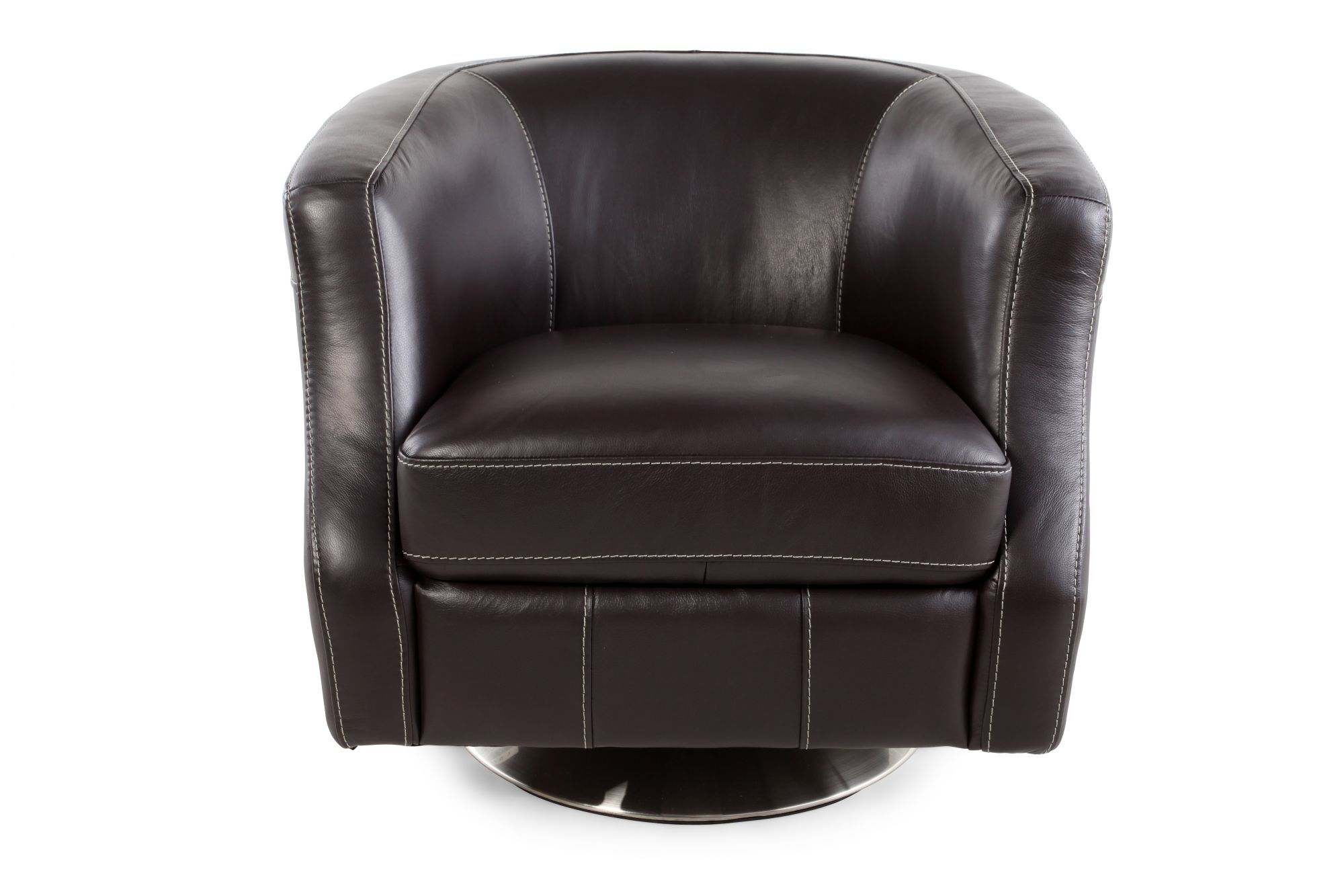 brown swivel chair for kid scooped arm in mathis brothers furniture