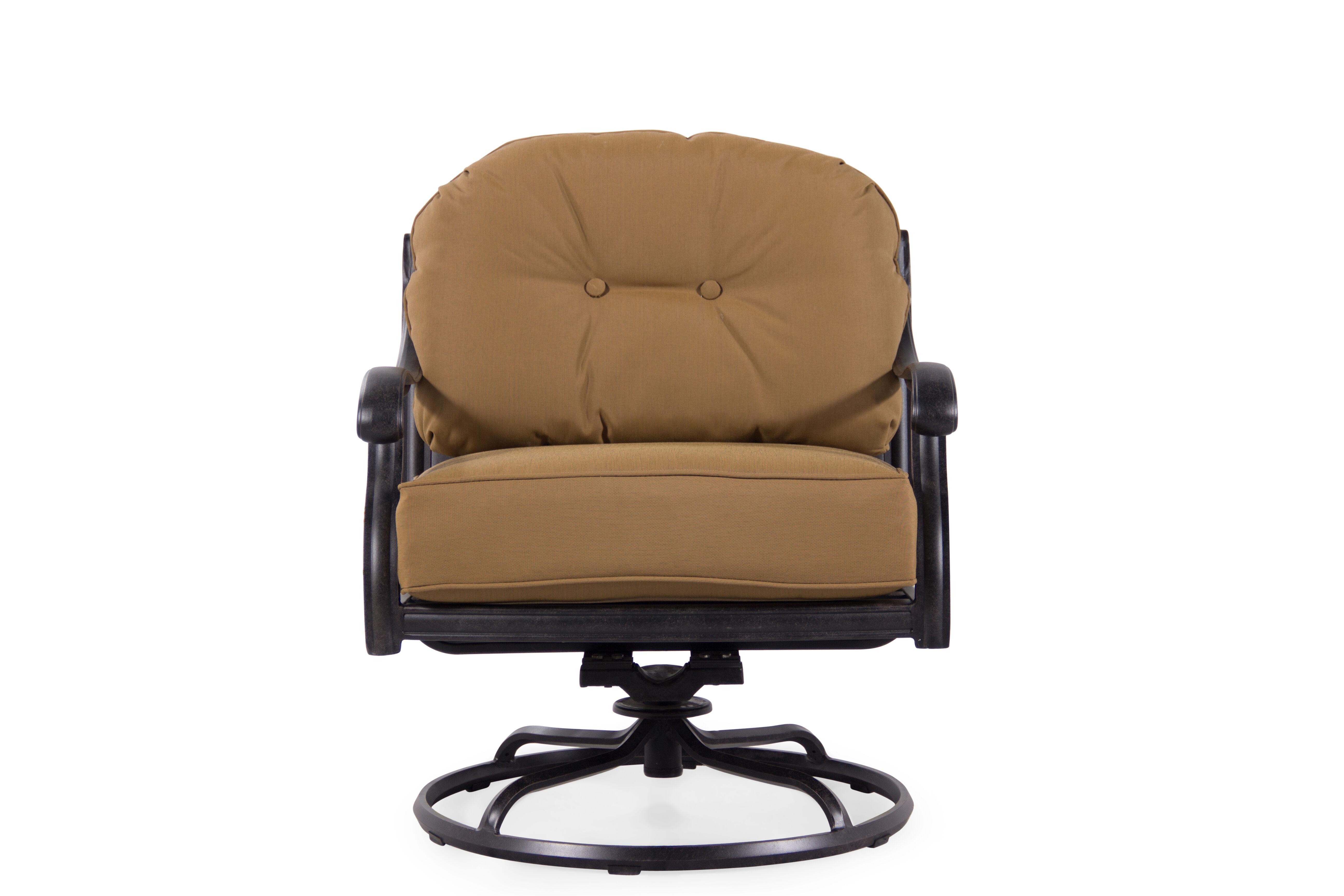 ButtonTufted Aluminum Swivel Club Chair in Cinnamon