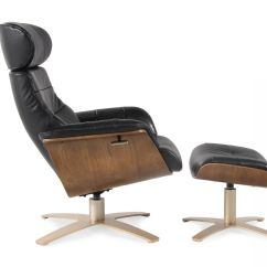Leather Swivel Recliner Chair And Ottoman Accent Chairs With Ottomans In Onyx Mathis