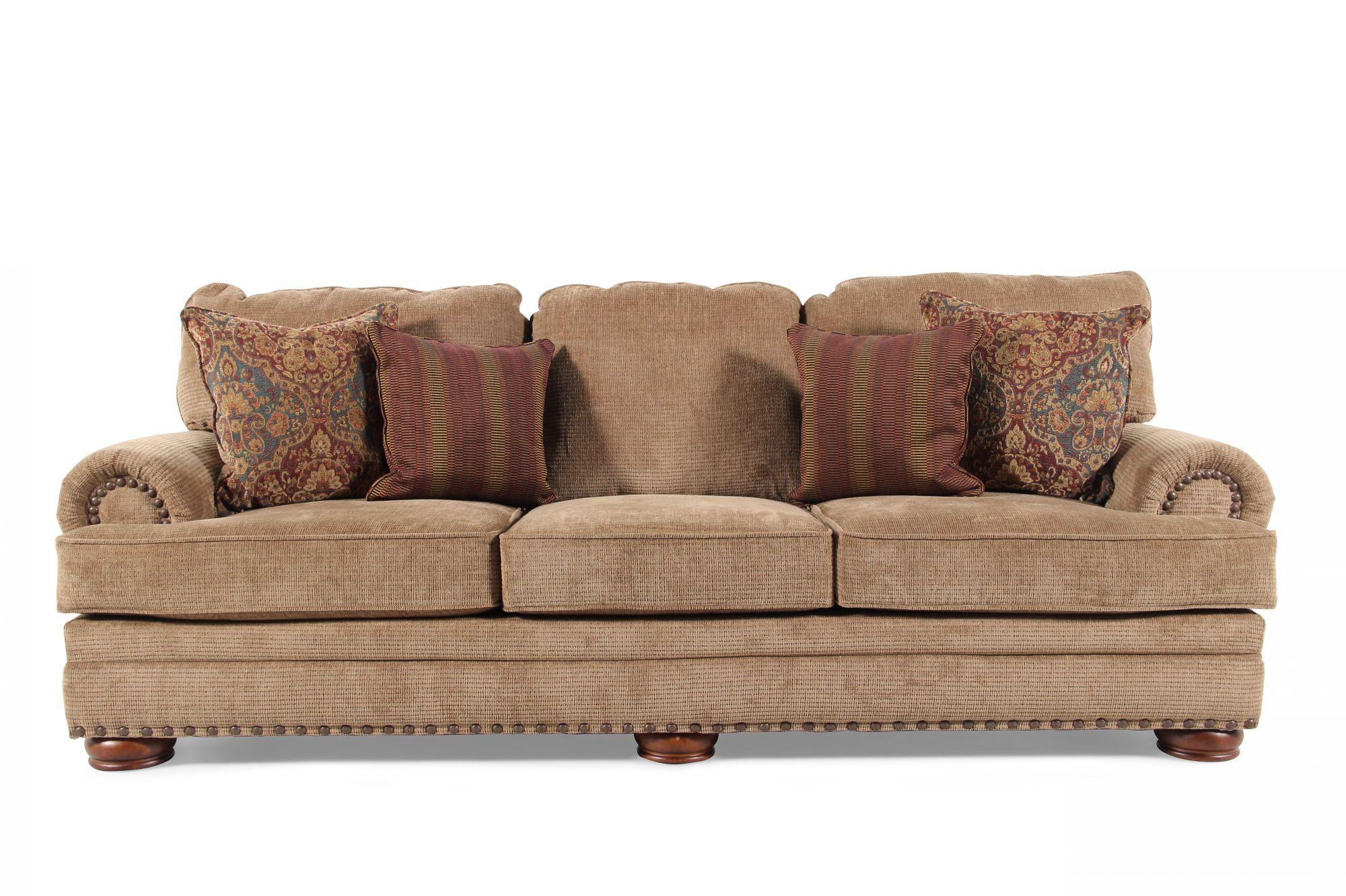 Nailhead Accented 101 Sofa In Desert Brown Mathis