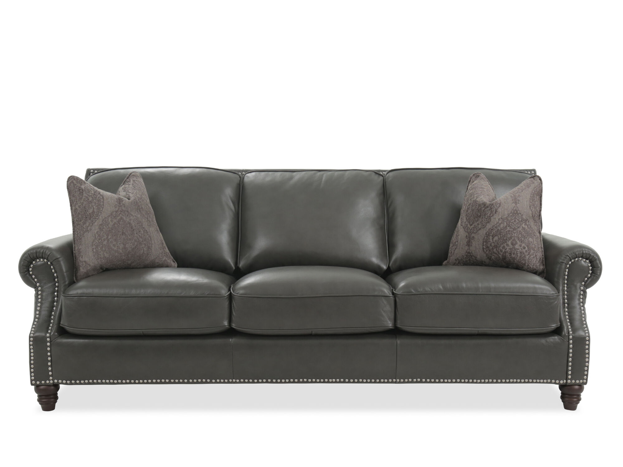 leather nailhead sofa set georgia accented in gray mathis brothers