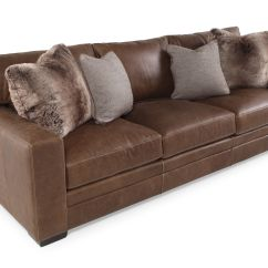 Low Profile Leather Sectional Sofa Raleigh 98 Quot In Saddle Brown Mathis