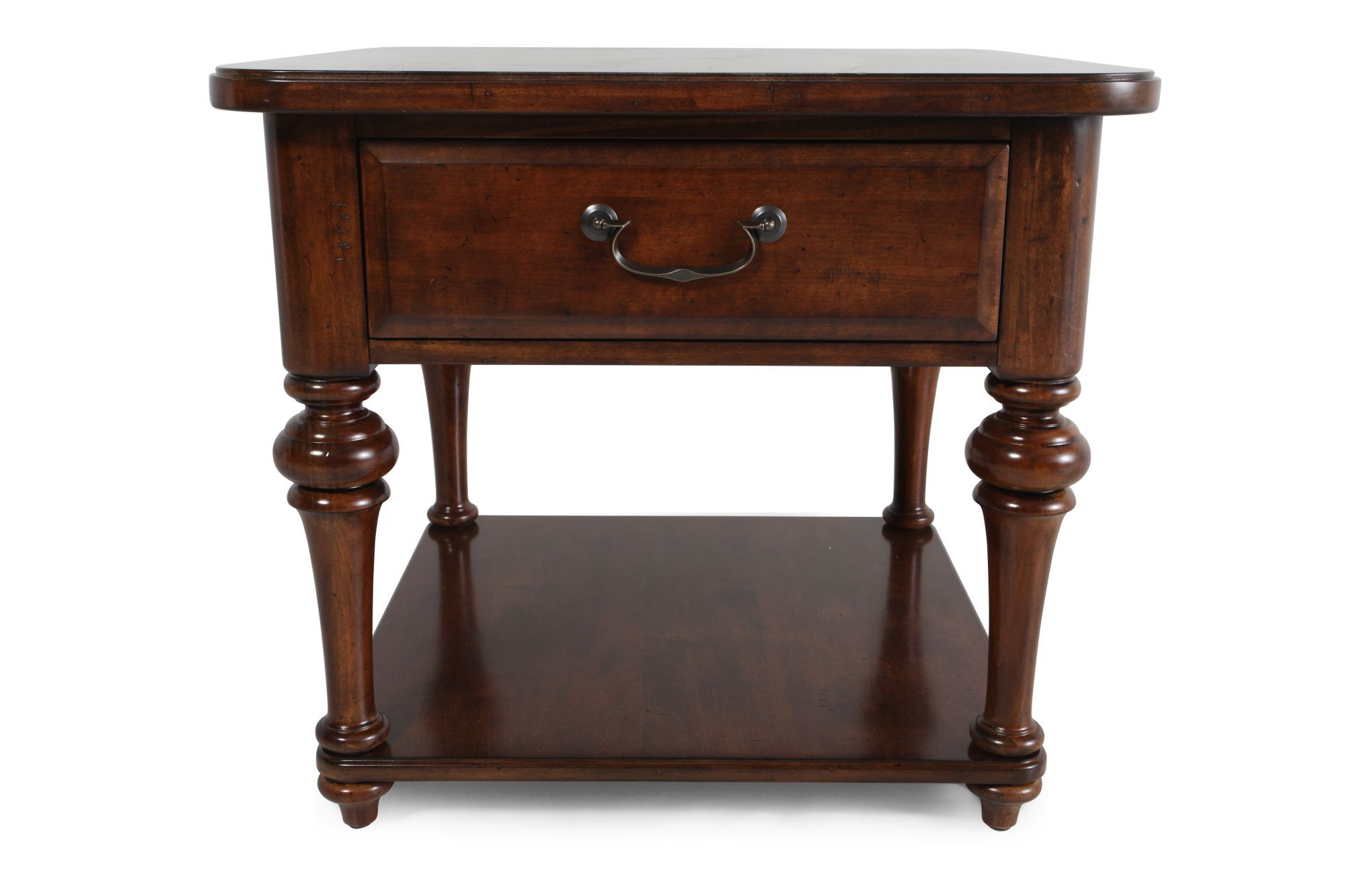 Square One Drawer Contemporary Lamp Table In Medium Brown