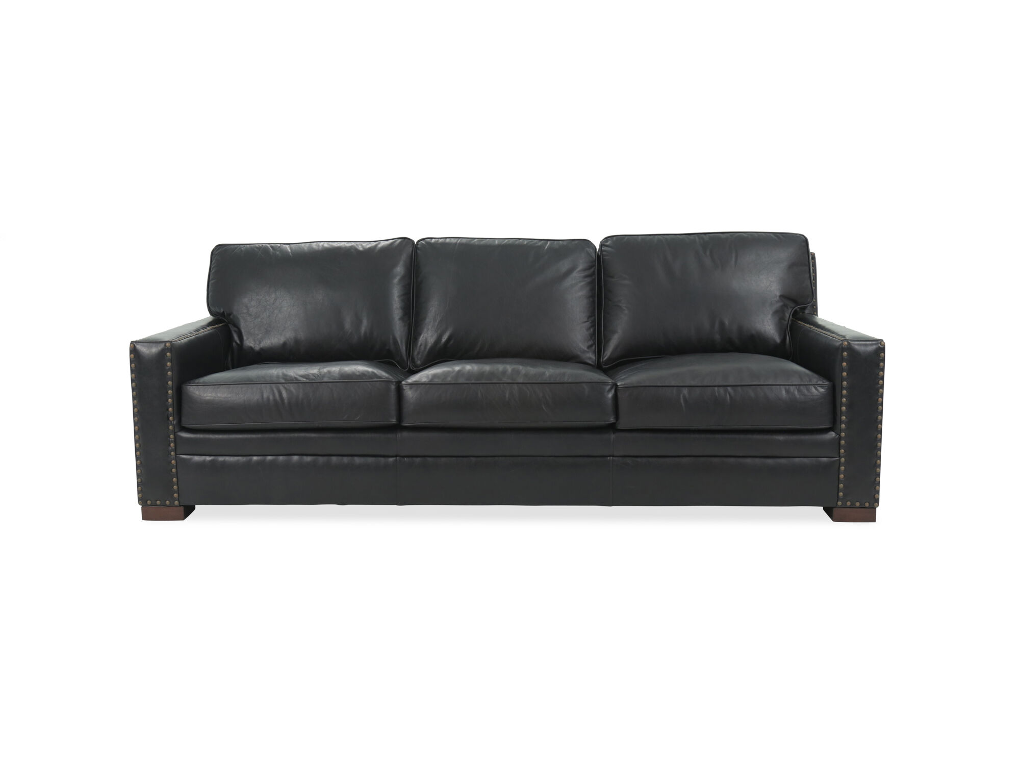 black leather sofa with nailheads la z boy reclining nailhead accented in mathis brothers furniture the arms are straight and padded sits on dark tapered block feet