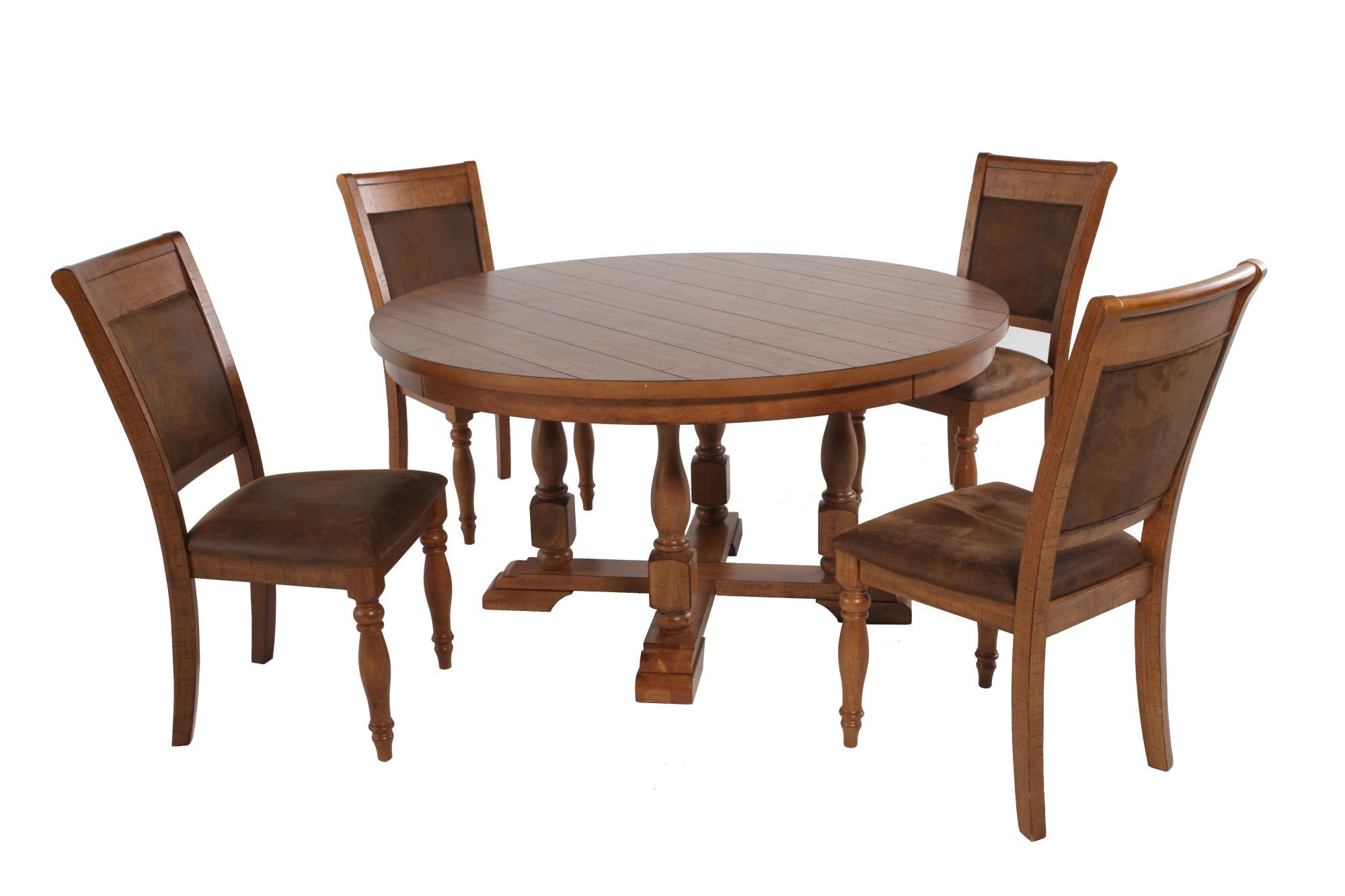 Five Piece Round Extension 58 Dining Set In Brown
