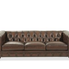 Tufted Club Sofa Surfers Live 2017 Leather Button 92 5 Quot In Dark Brown Mathis